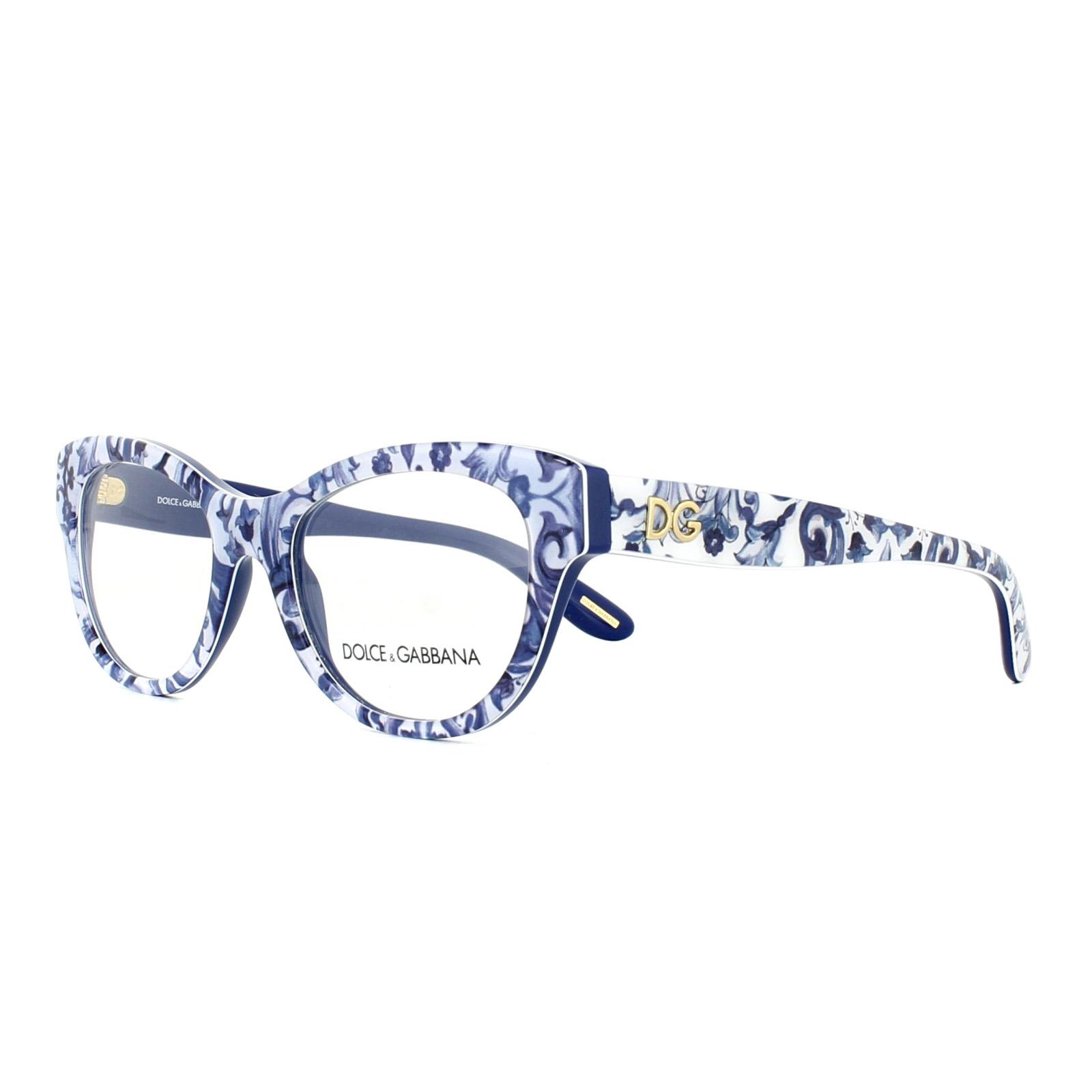 280bb6287b Sentinel Dolce   Gabbana Glasses Frames DG 3203 2993 Maioliche Partenopee  Blue Flowers 51