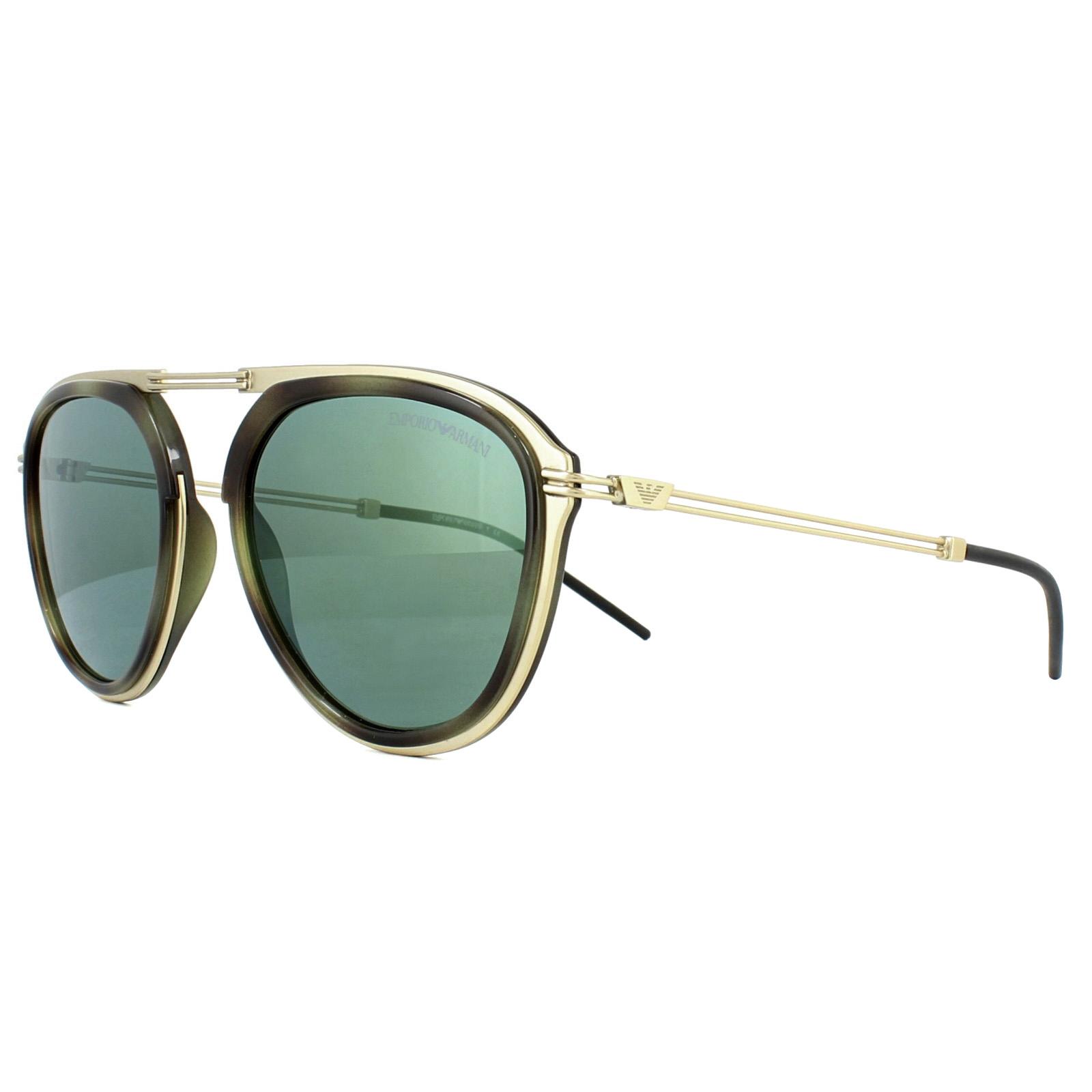 470917a06ba4 CENTINELA Emporio Armani gafas de sol 2056 30026R pálido mate oro Habana  verde espejo