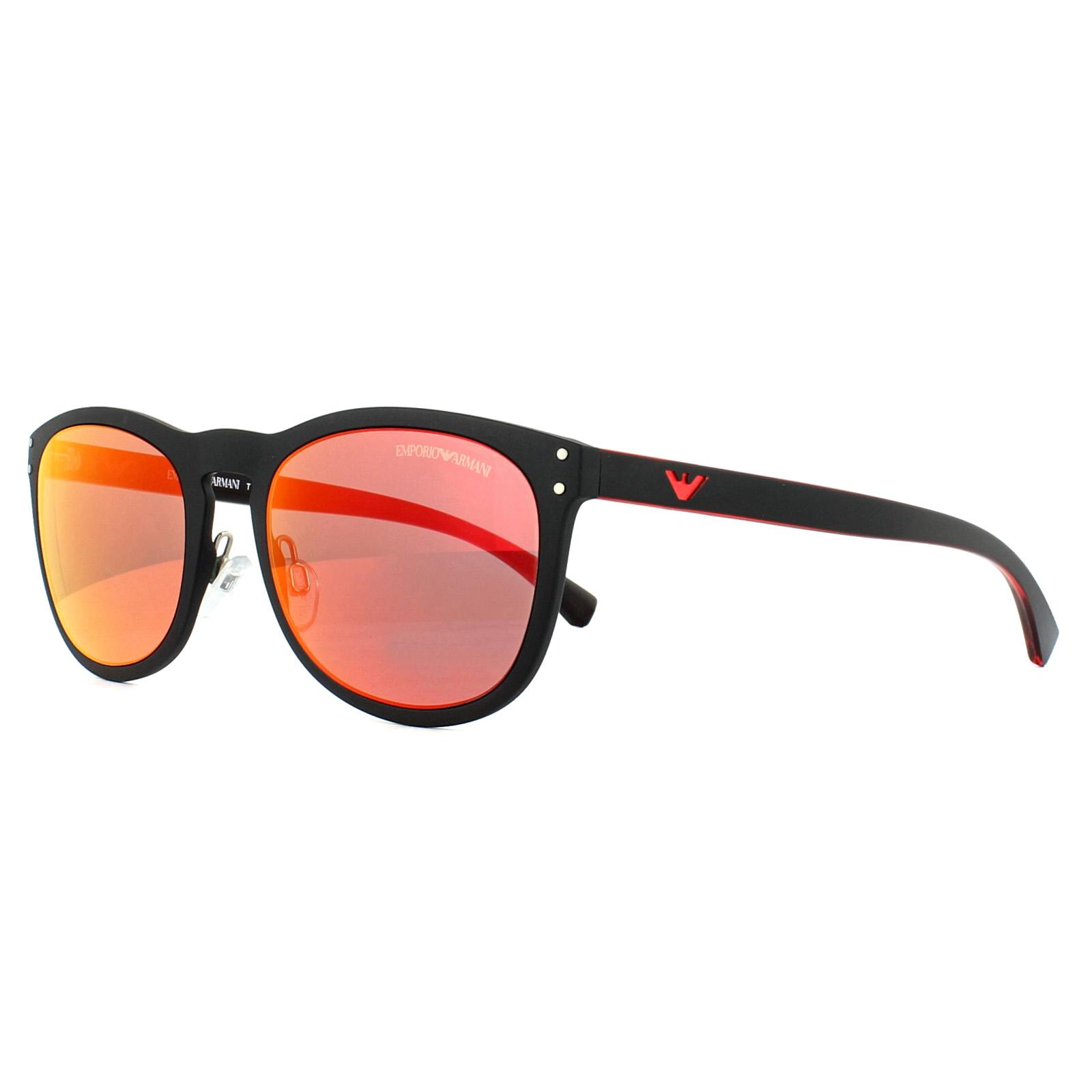 784a1668214 Sentinel Emporio Armani Sunglasses 4098 50426Q Matt Black Red Mirror