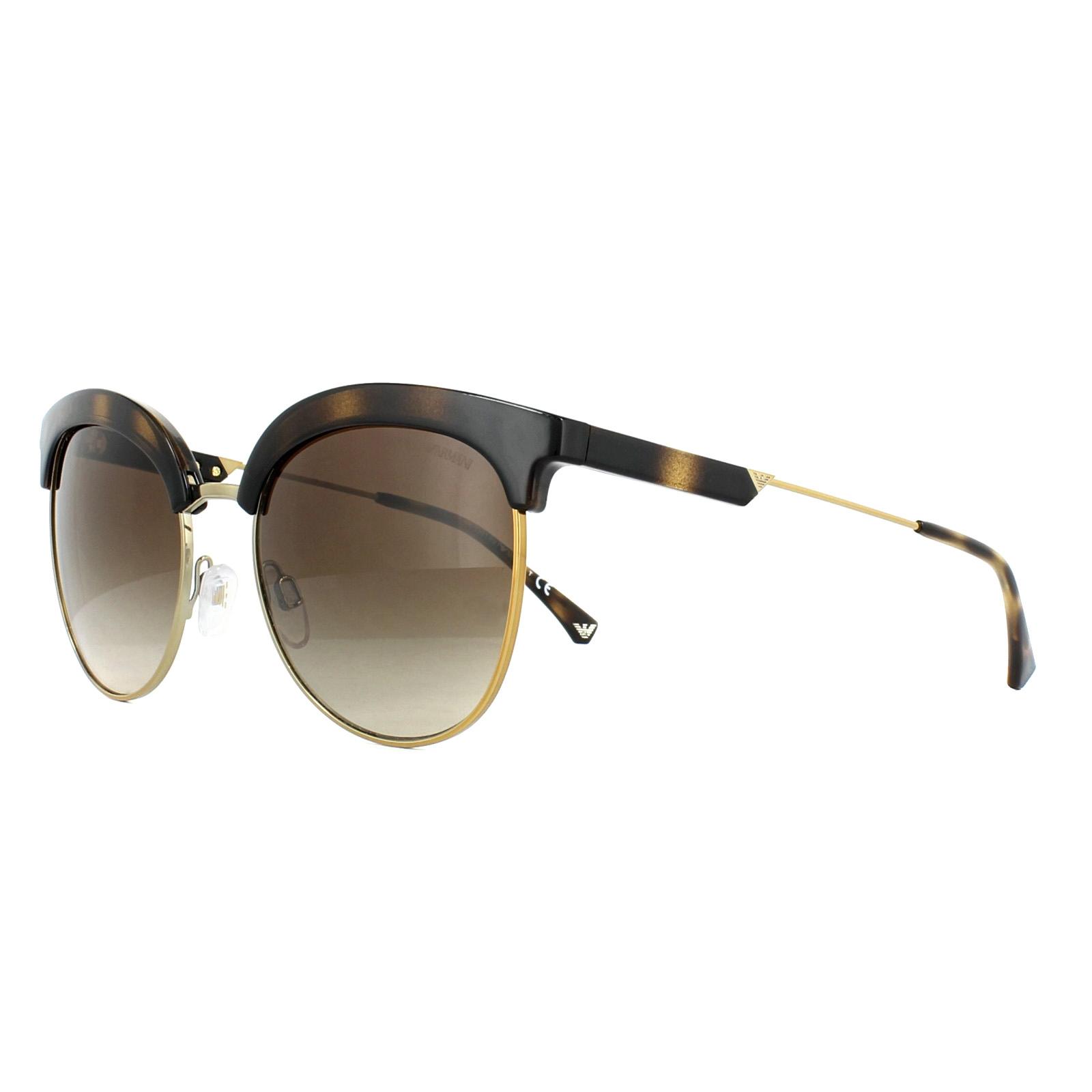 0e300011dc5 Sentinel Emporio Armani Sunglasses 4102 502613 Dark Havana Pale Gold Brown  Gradient