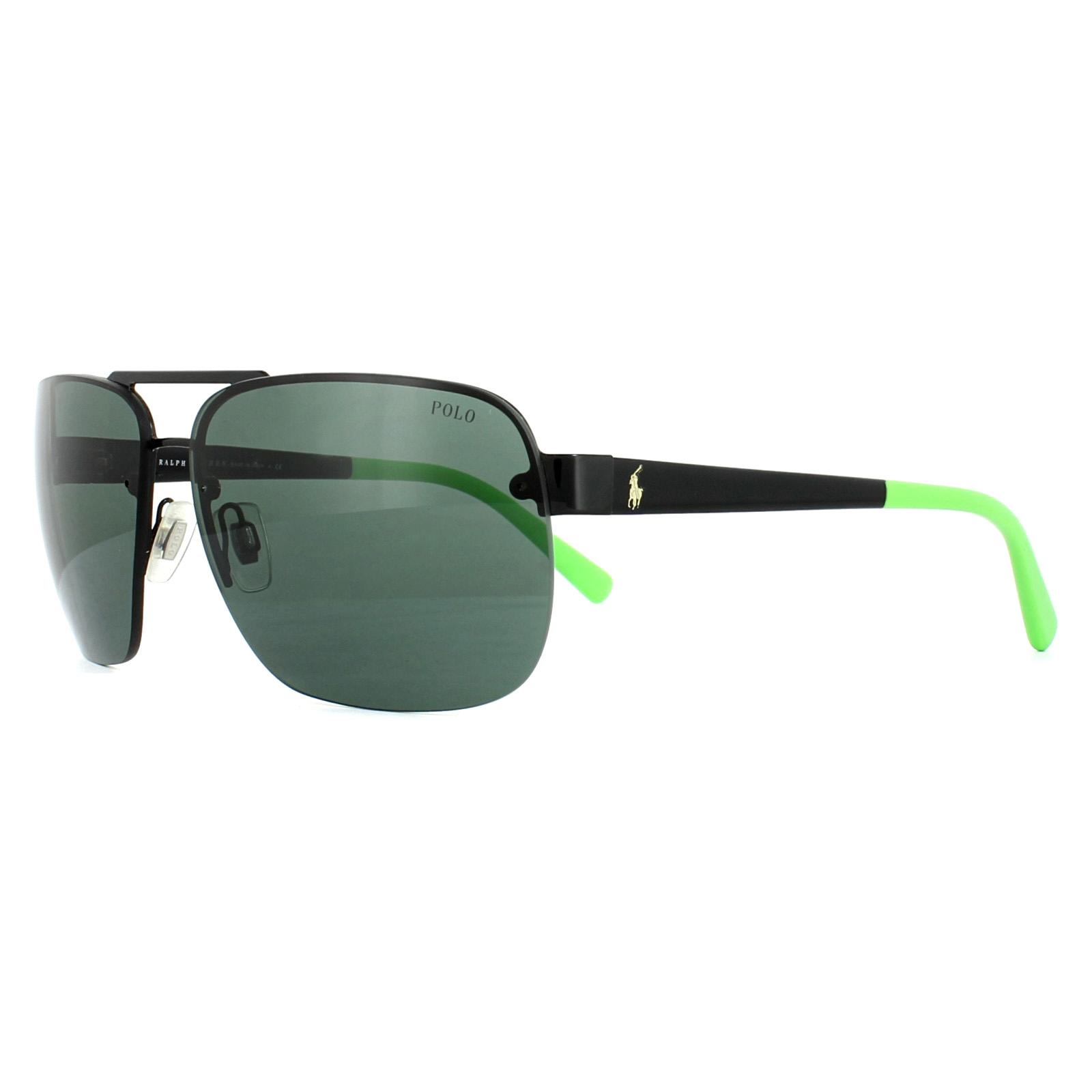 1a58c12c9a6e Sentinel Polo Ralph Lauren Sunglasses 3071 900371 Shiny Black Green