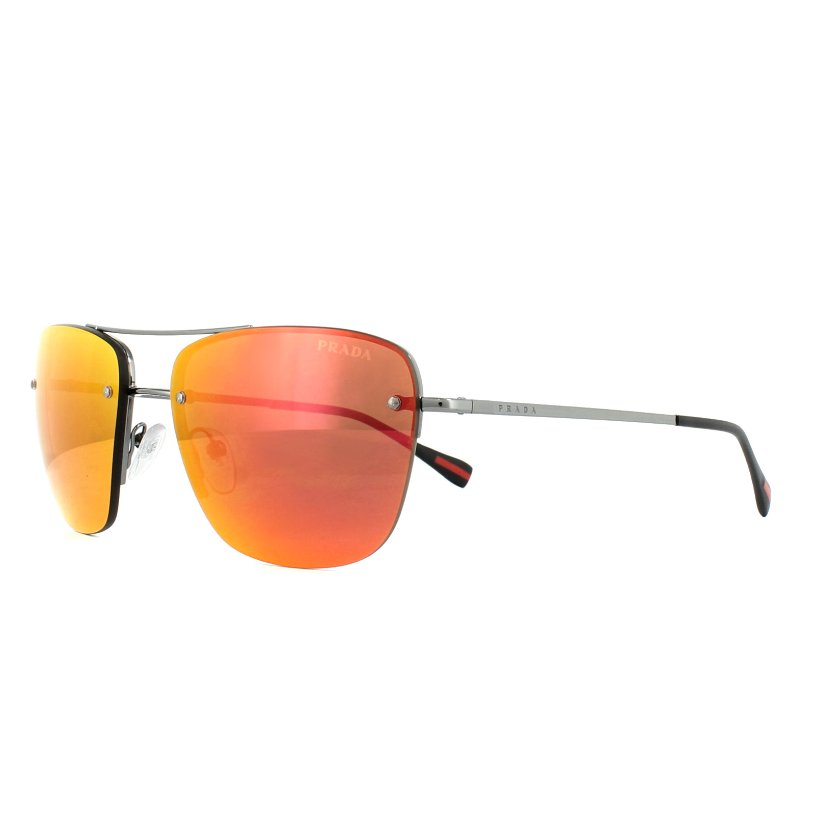 14daad199ae8 SENTINEL Prada Sport Occhiali da sole 52RS 5AV5M0 Gunmetal specchio marrone  arancio