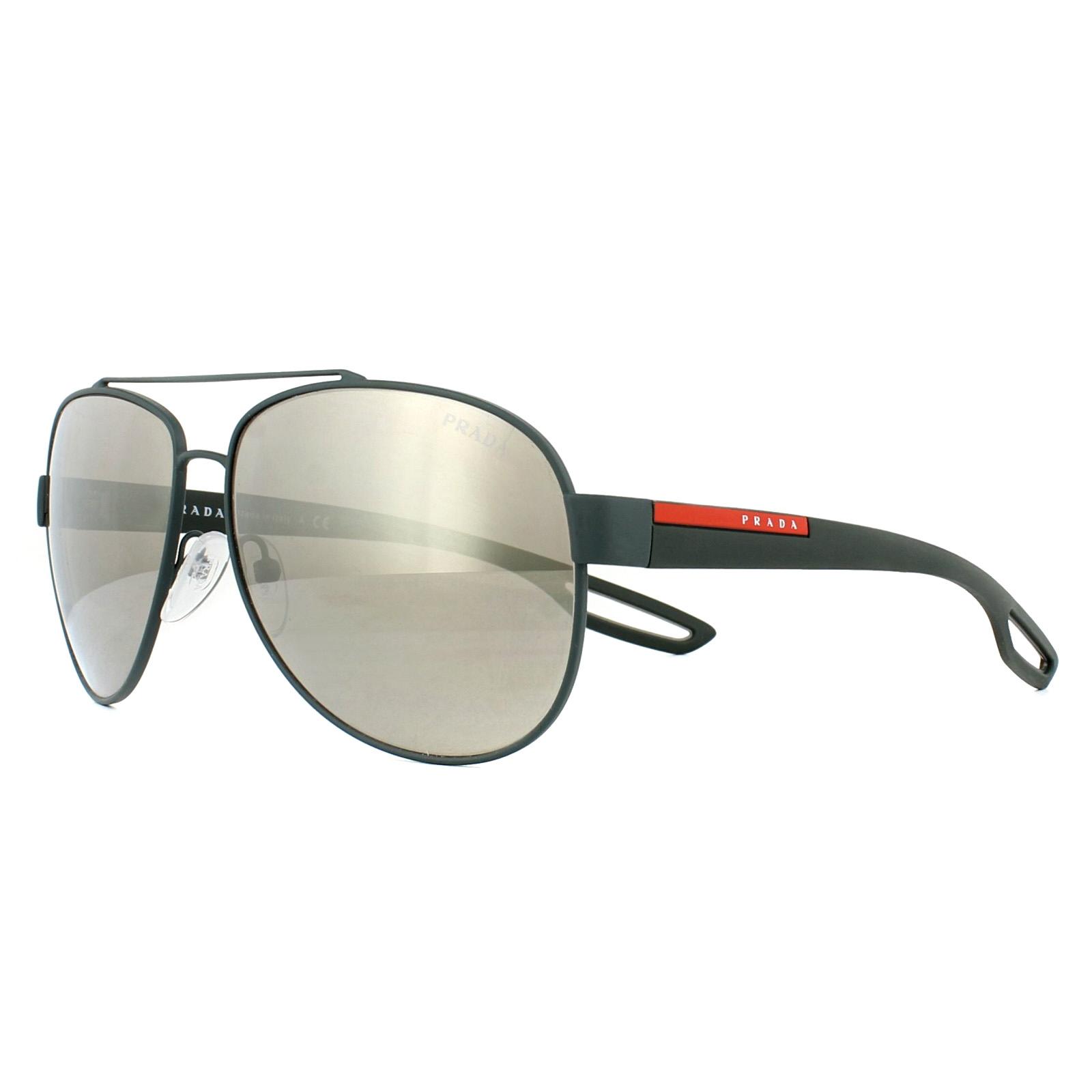 757f2eedfa CENTINELA Prada Sport gafas de sol 55QS UFI1C0 caucho verde marrón espejo  62mm