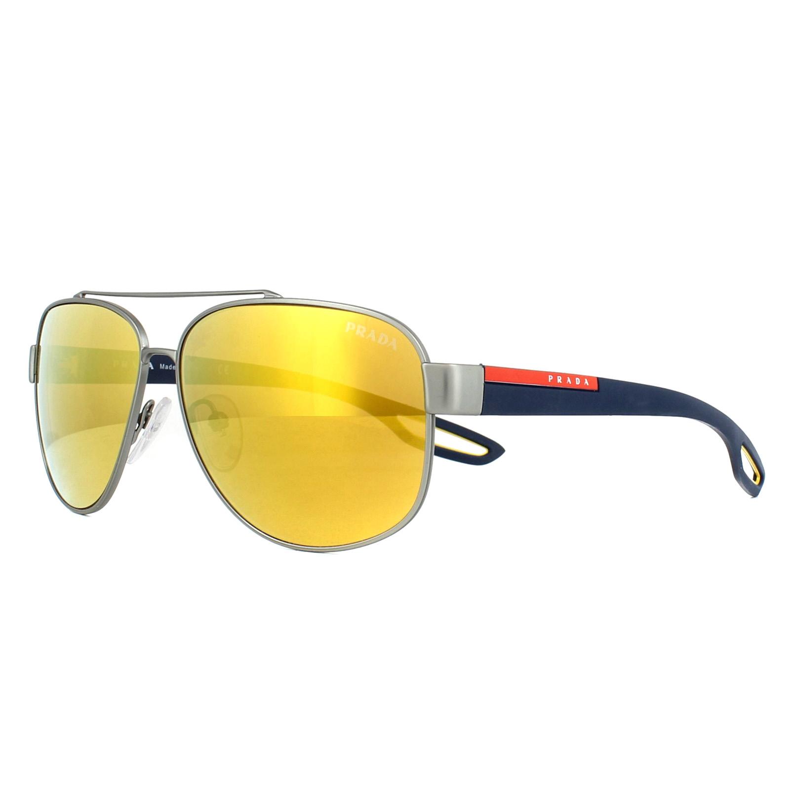 10d3ba7da9141 Sentinel Prada Sport Sunglasses 58QS DG15N0 Ruthenium Rubber Brown 24K  Iridium 60mm