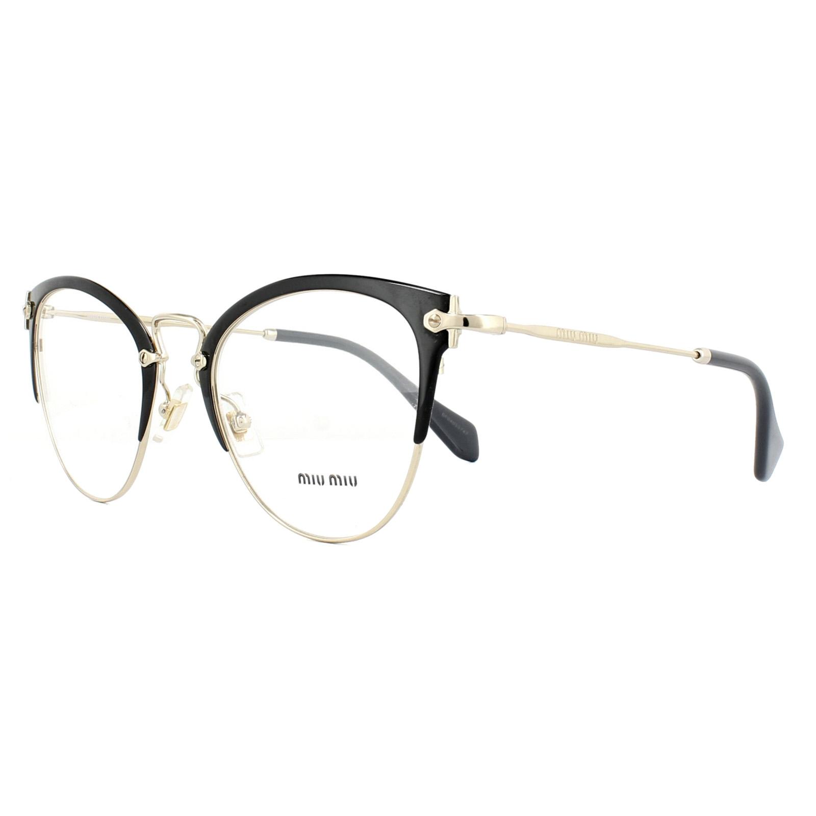e860ff7074929 Sentinel Miu Miu Glasses Frames MU50QV 1AB1O1 Black Pale Gold 52mm Womens