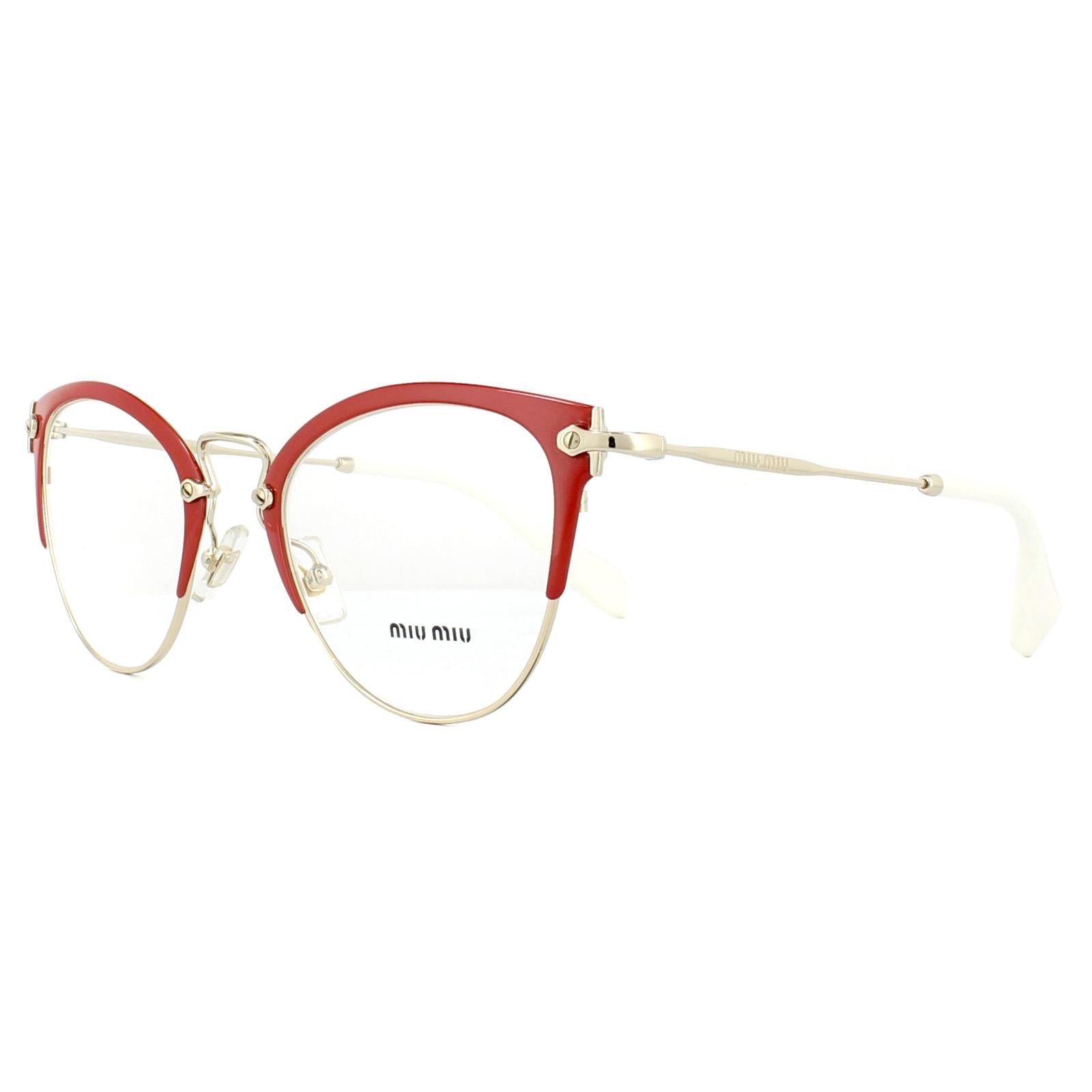 da2edb12c56 Sentinel Miu Miu Glasses Frames MU50QV VYI1O1 Red Pale Gold 50mm Womens