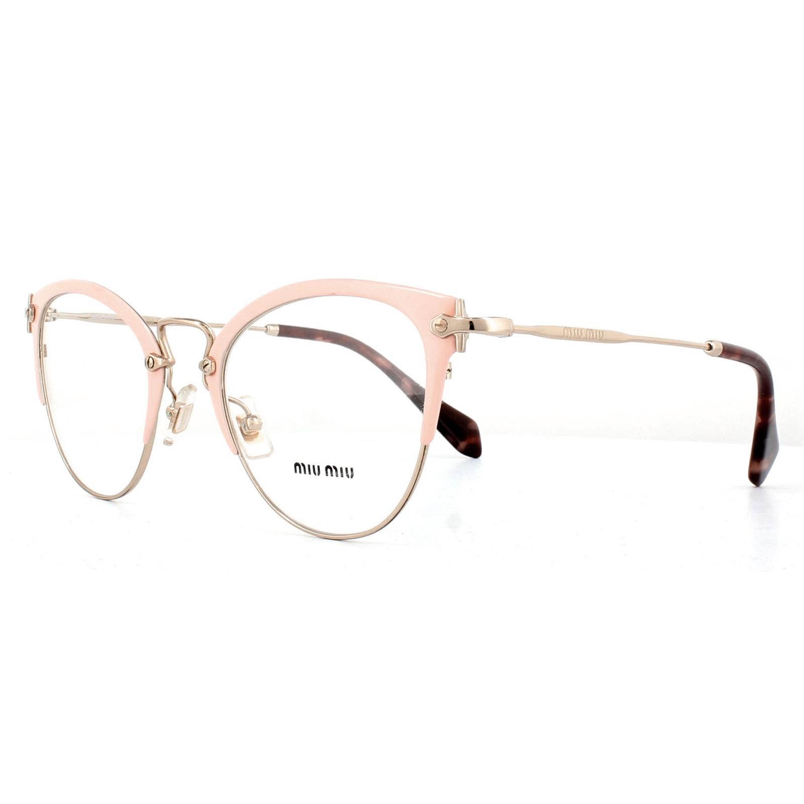 b0a45a2244e6 Sentinel Miu Miu Glasses Frames MU50QV VYJ1O1 Pink Pale Gold 50mm Womens