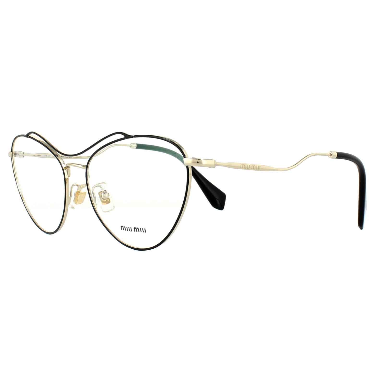 ecac9c32ac05d Sentinel Miu Miu Glasses Frames MU53PV 1AB1O1 Pale Gold Black 56mm Womens