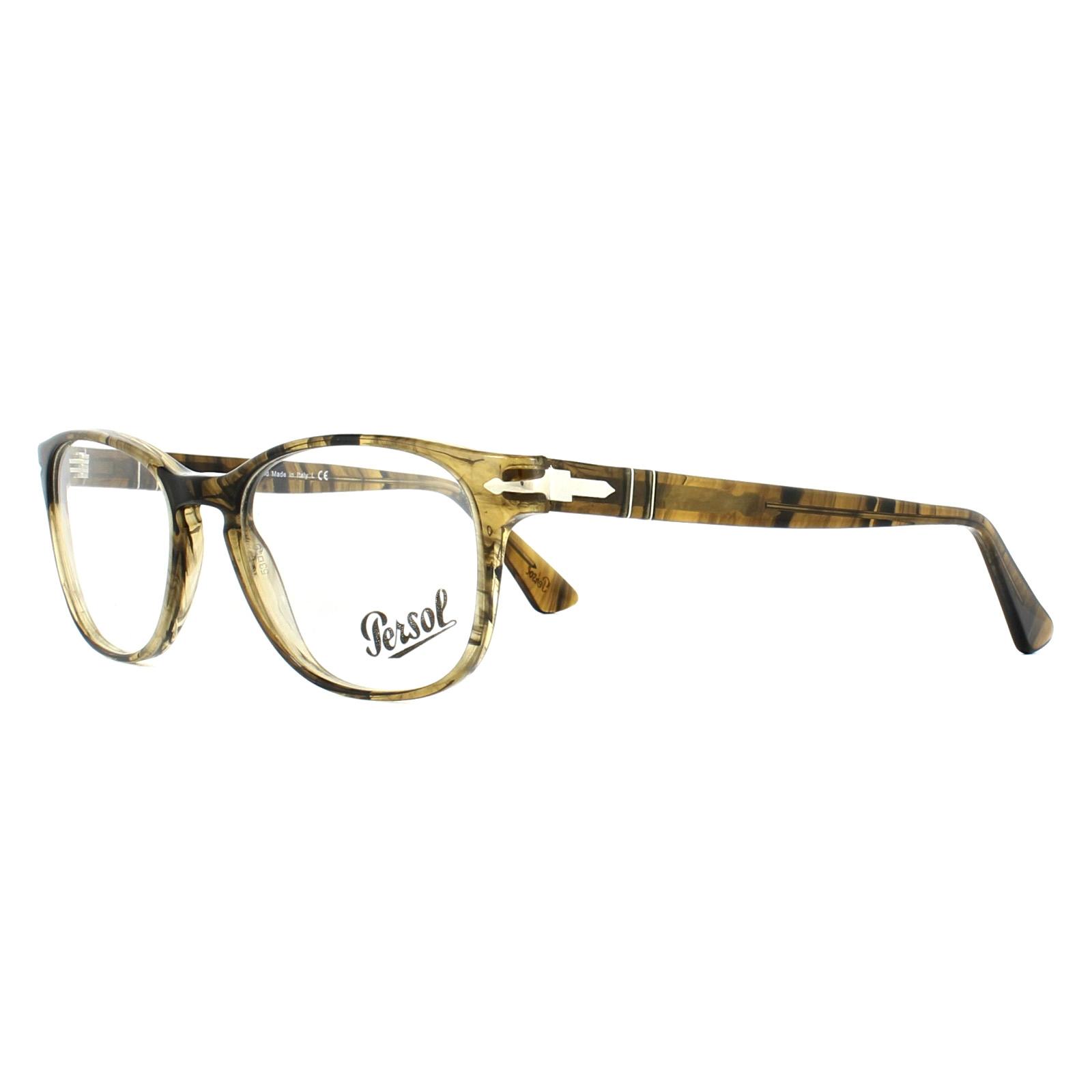 265f42ef50 Sentinel Persol Glasses Frames PO3085V 1021 Light Striped Brown 53mm Mens