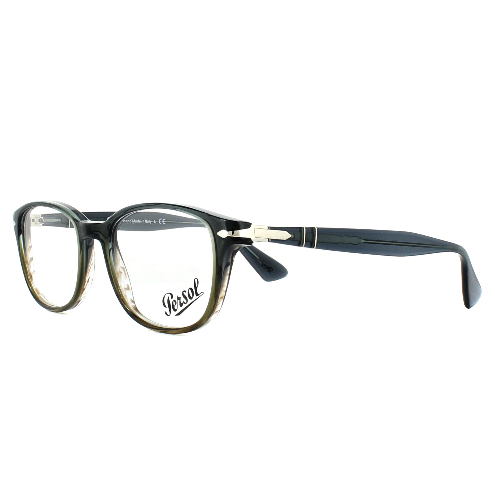 Persol Glasses Frames PO3163V 1012 Gradient Grey Striped Green 52mm ...