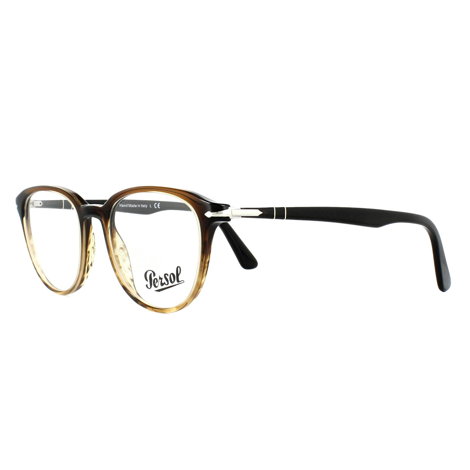 5966b5113c843 Sentinel Persol Glasses Frames PO3176V 1026 Black Gradient Striped Brown 48mm  Mens