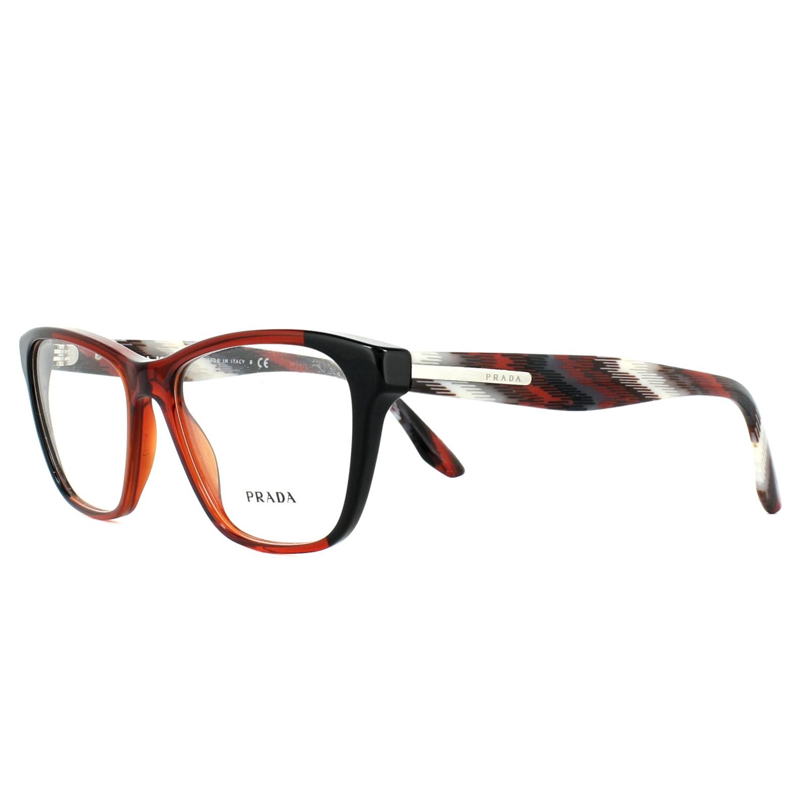 33eaef71227f Sentinel Prada Glasses Frames PR04TV VYO1O1 Black Bordeaux 52mm Womens