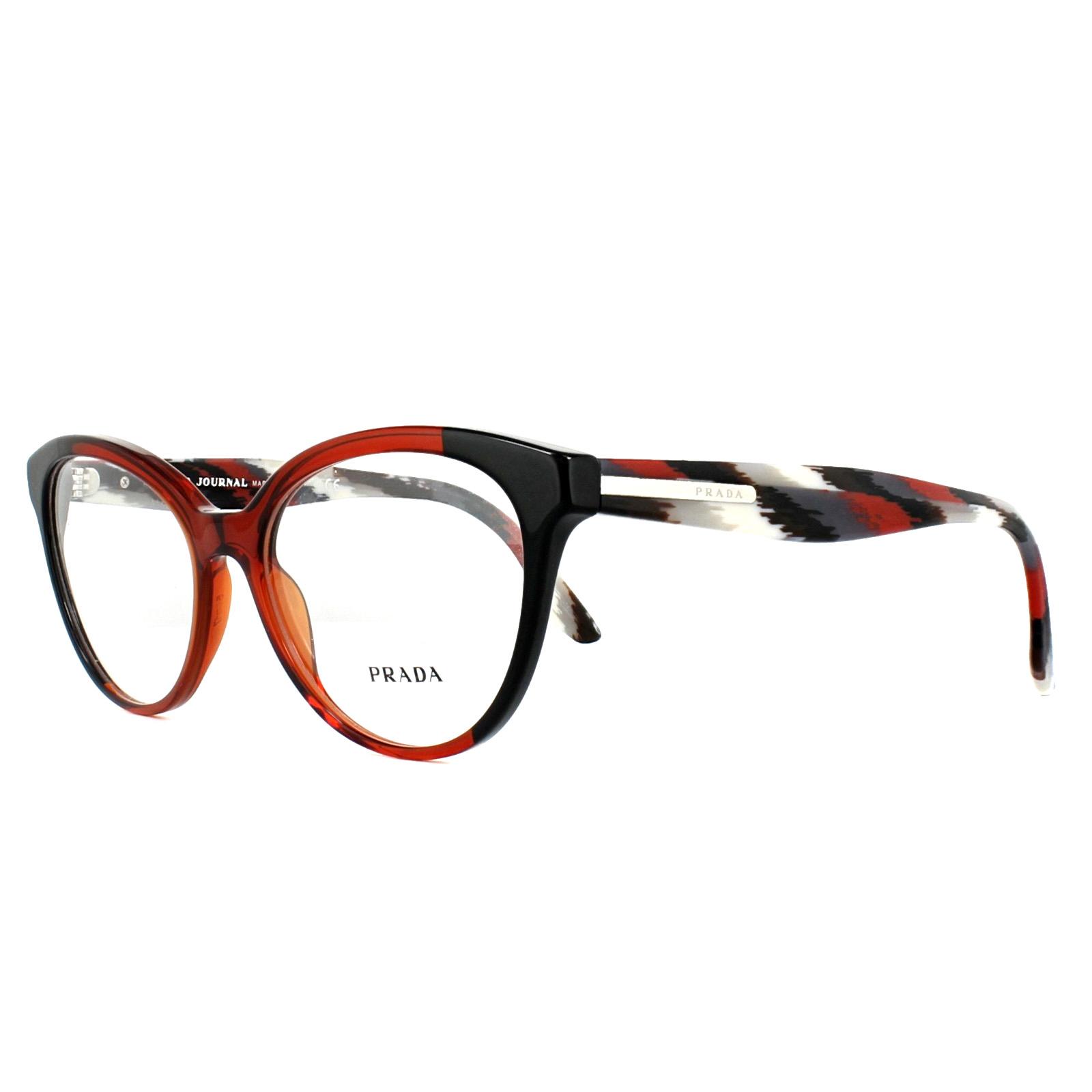 3fdfacdf11e Sentinel Prada Glasses Frames PR05UV VYO1O1 Black Bordeaux 54mm Womens