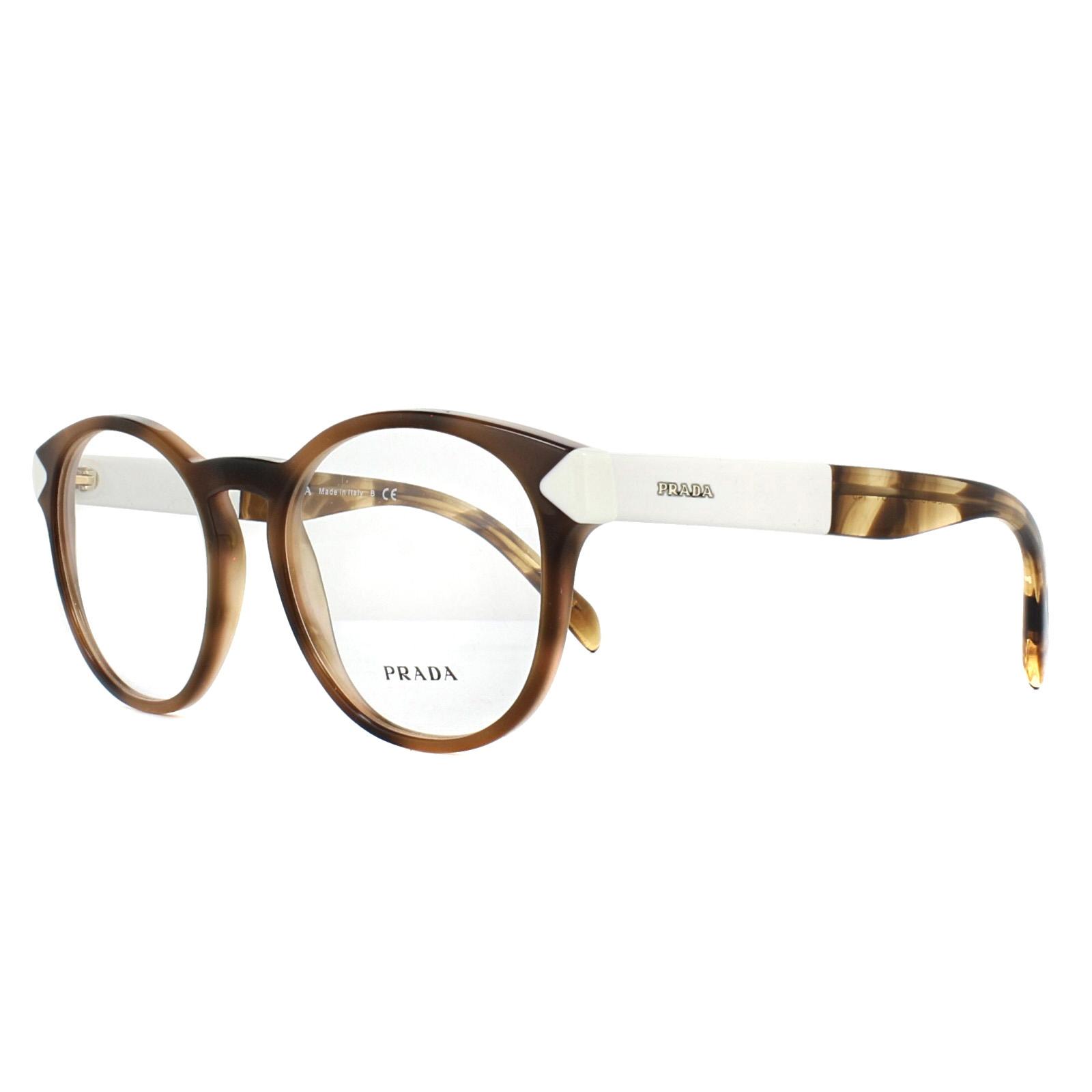 20f9fd954b Sentinel Prada Glasses Frames PR16TV USG1O1 Striped Dark Brown 52mm Womens