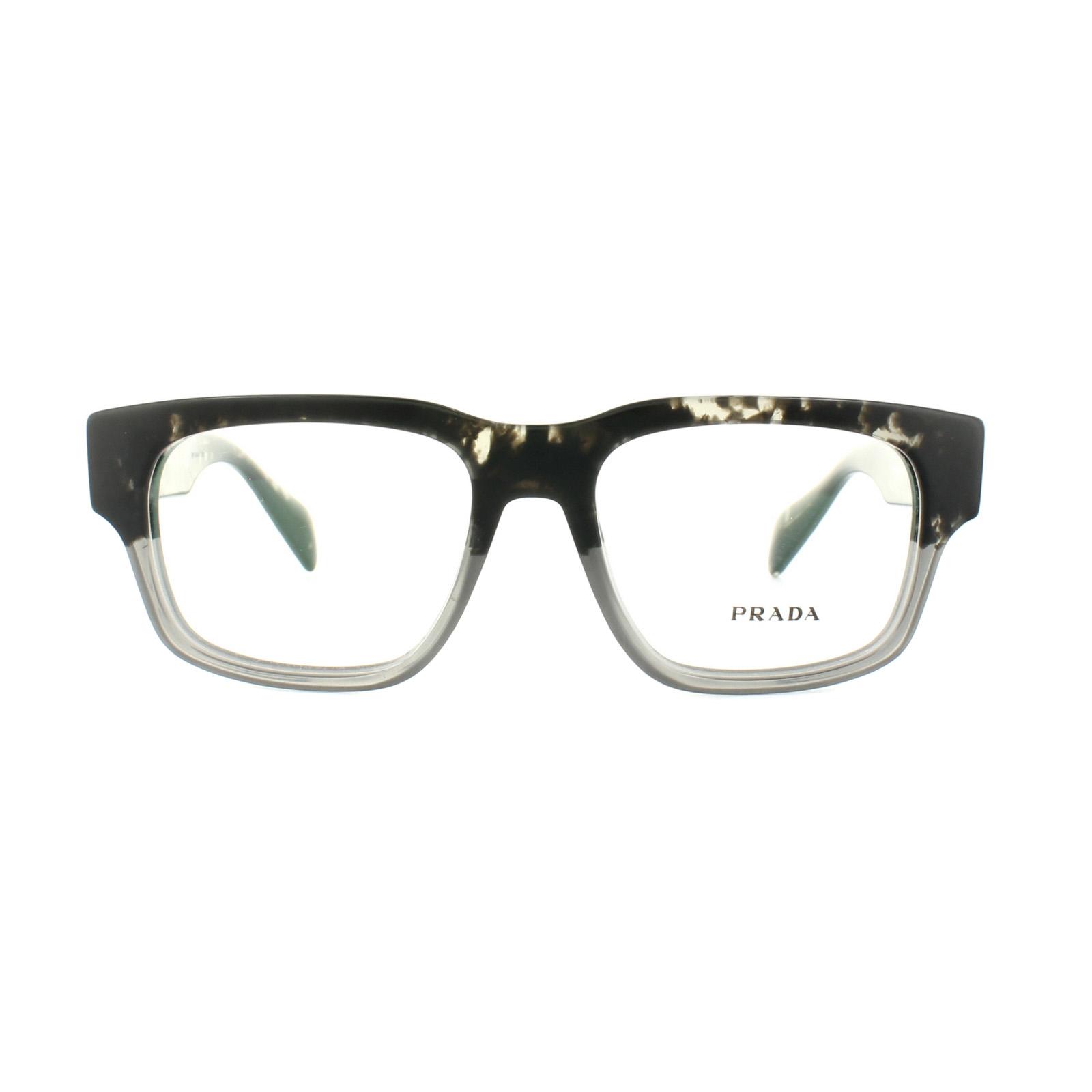 Prada Glasses Frames PR19QV RO31O1 Spotted Black on Matt Grey 51mm ...