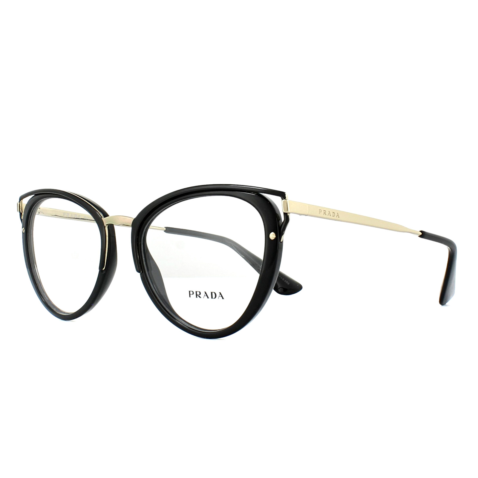 7fecfce1ffb Prada Glasses Frames PR53UV 1AB1O1 Black 50mm Womens 8053672784633 ...