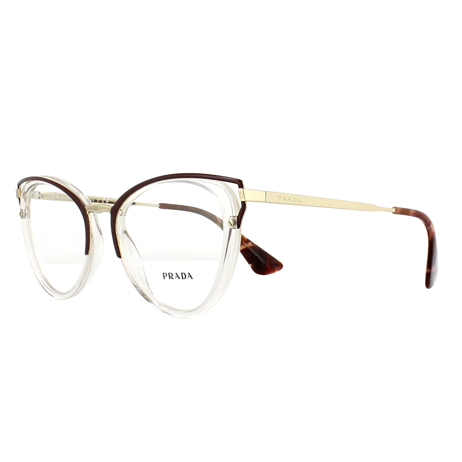 ec3a8ea808 Sentinel Prada Glasses Frames PR53UV VYT1O1 Transparent Brown 50mm Womens