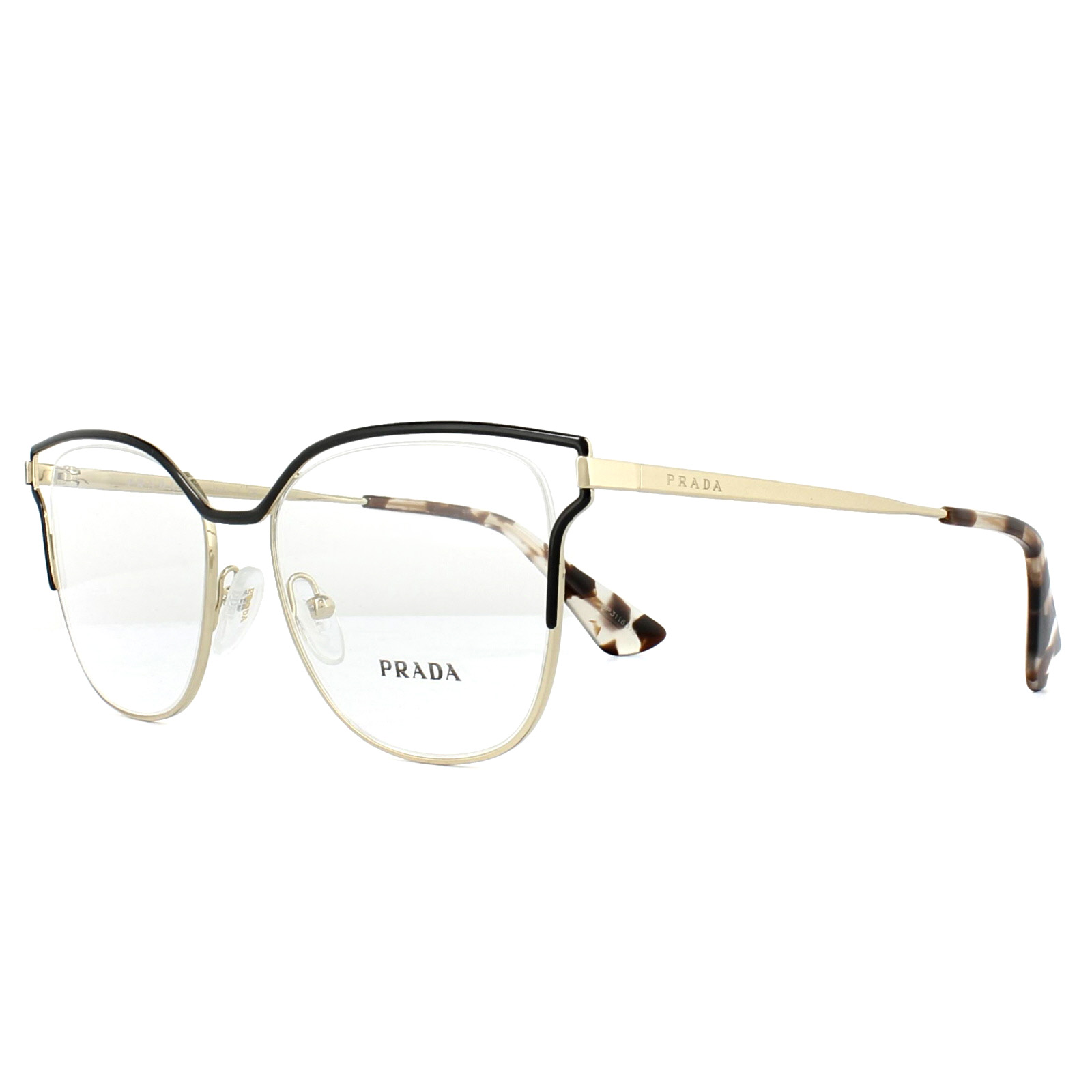 d51f288060 Sentinel Prada Glasses Frames PR54UV QE31O1 Black Pale Gold 51mm Womens