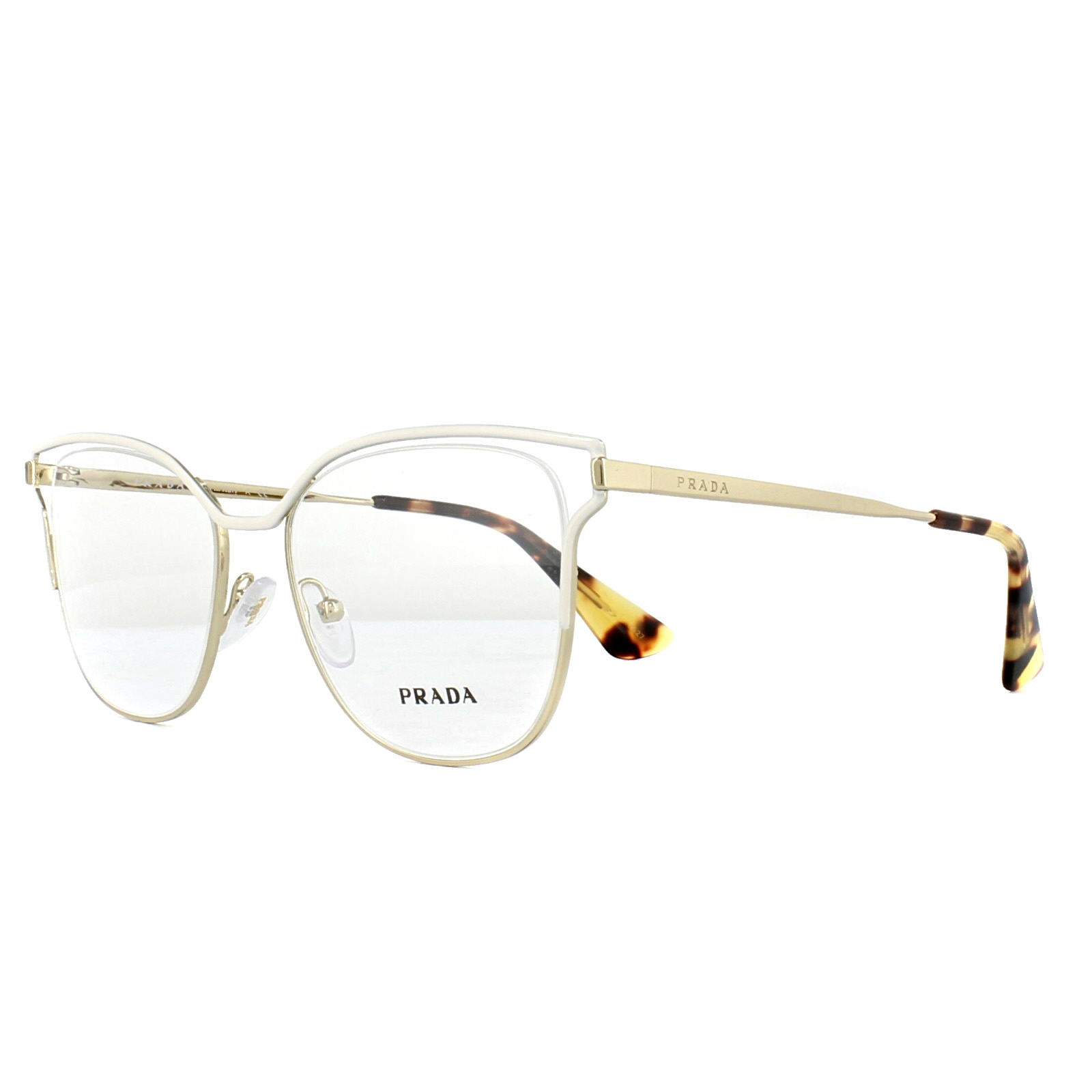 ff55fb5707a Sentinel Prada Glasses Frames PR54UV SL41O1 Ivory Pale Gold 53mm Womens