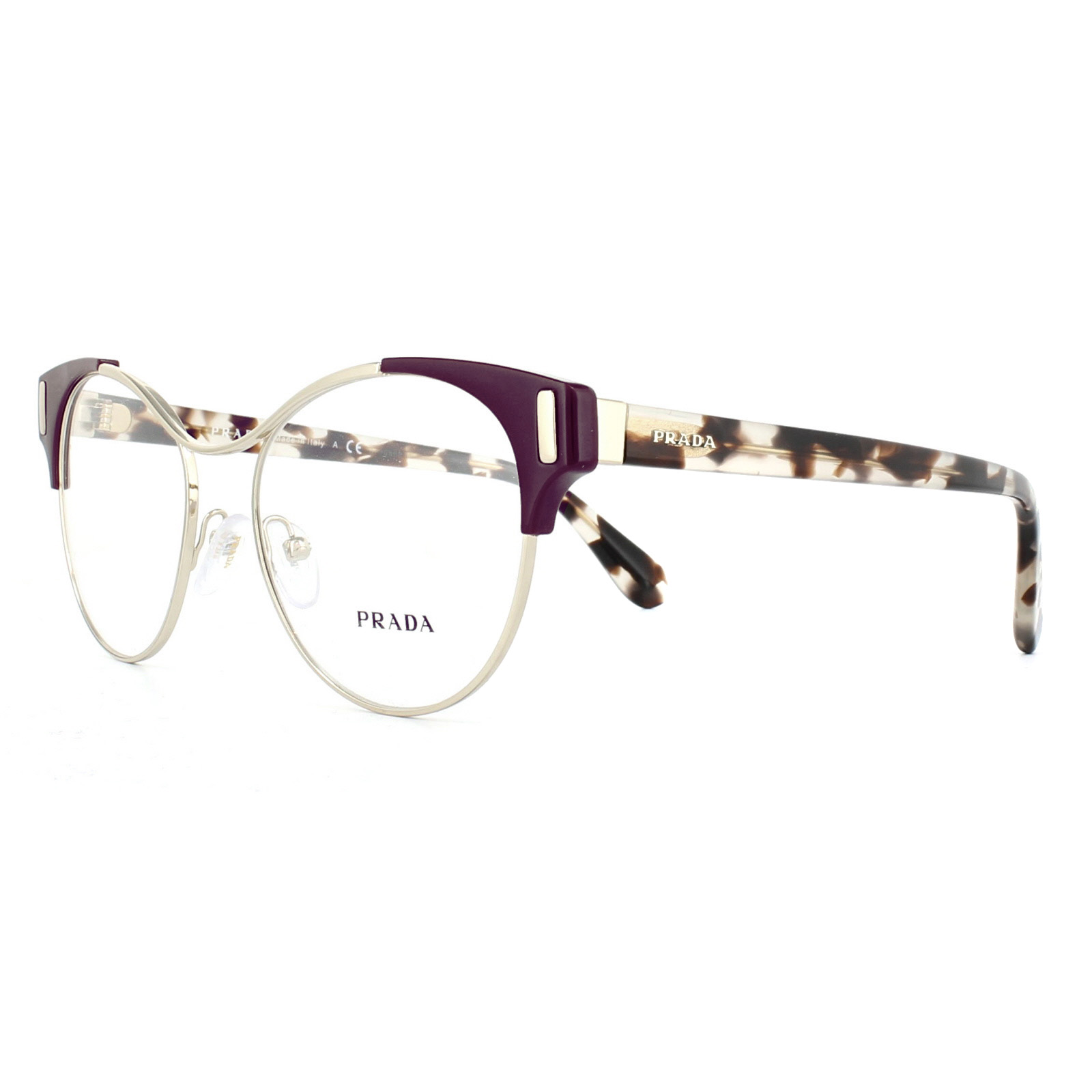 626b75b875c3 Sentinel Prada Glasses Frames PR61TV VAX1O1 Pale Gold Amarantth 52mm Womens