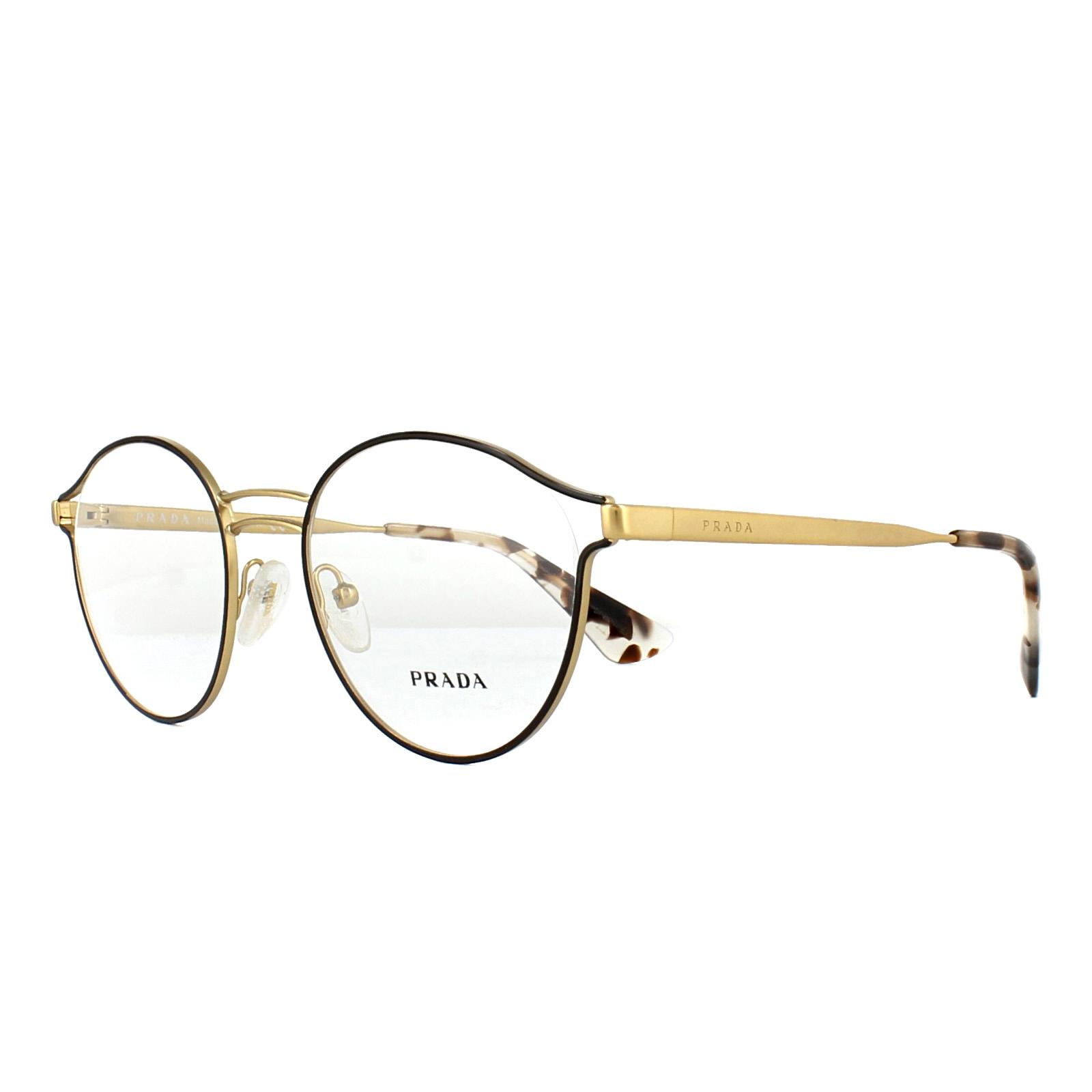 aa3100df57a Sentinel Prada Glasses Frames PR62TV VHI1O1 Brown Antique Gold 50mm Womens