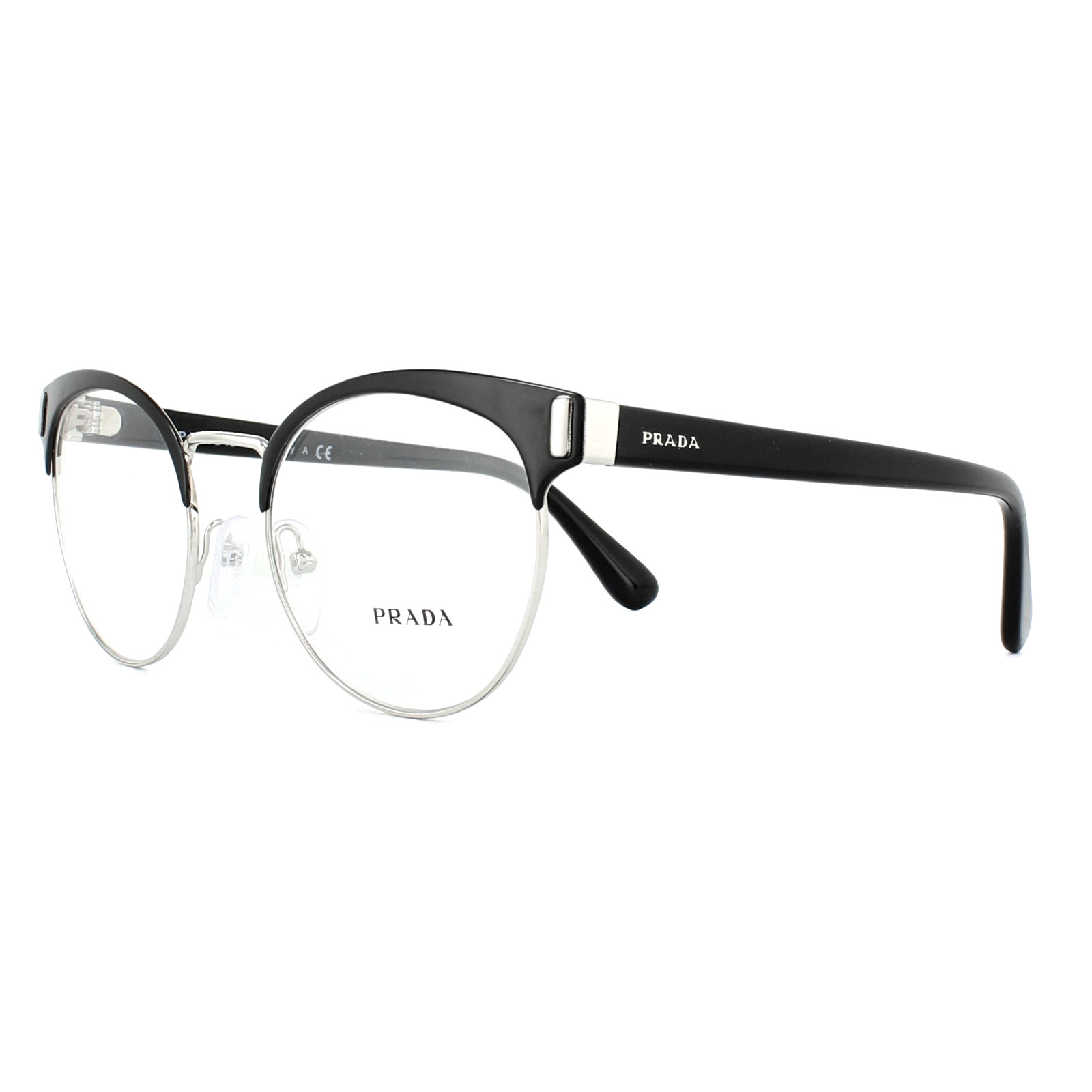 f0ee905175 Sentinel Prada Glasses Frames PR63TV 1AB1O1 Black Silver 52mm Mens