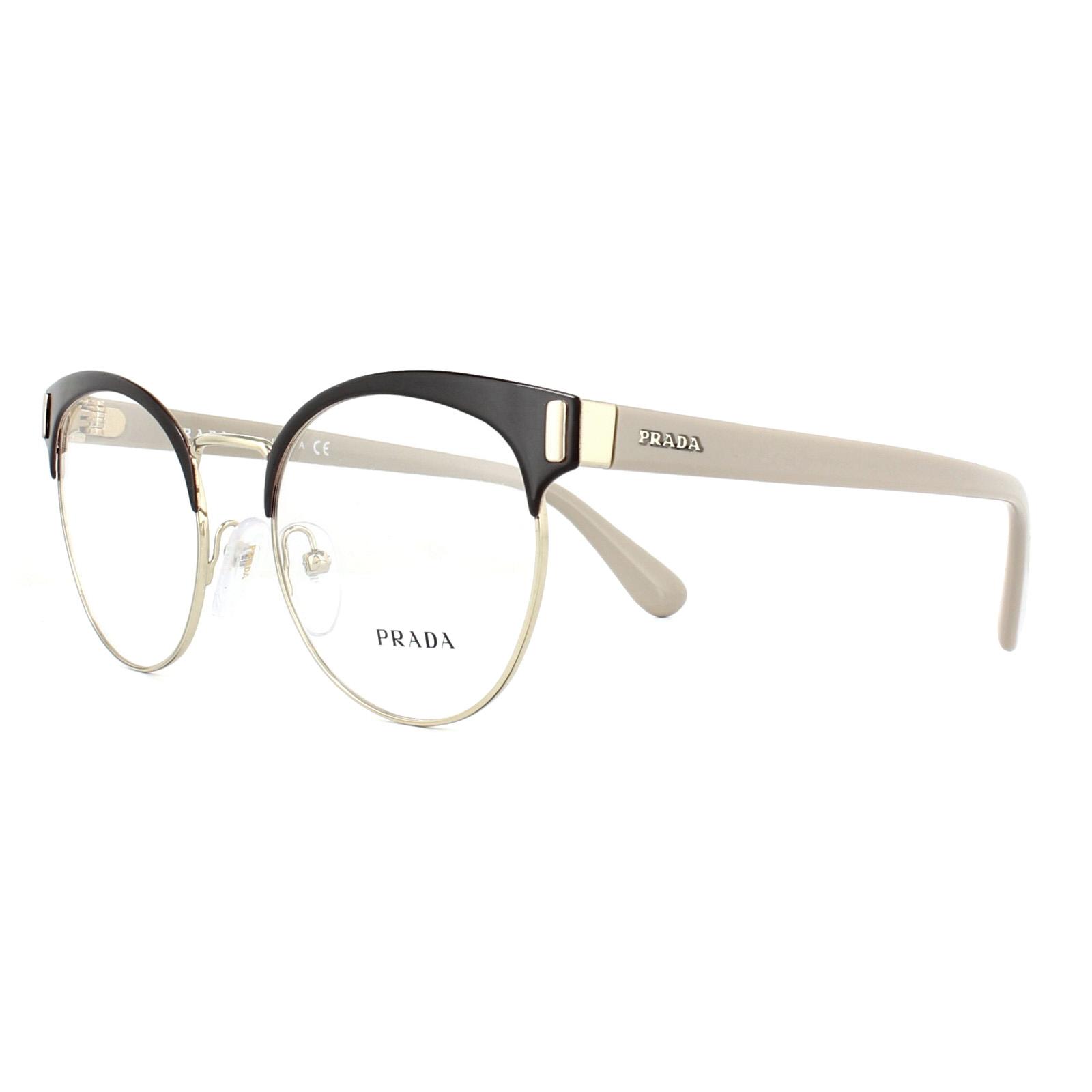 32ab3d81d44 Sentinel Prada Glasses Frames PR63TV DHO1O1 Brown Pale Gold 50mm Mens