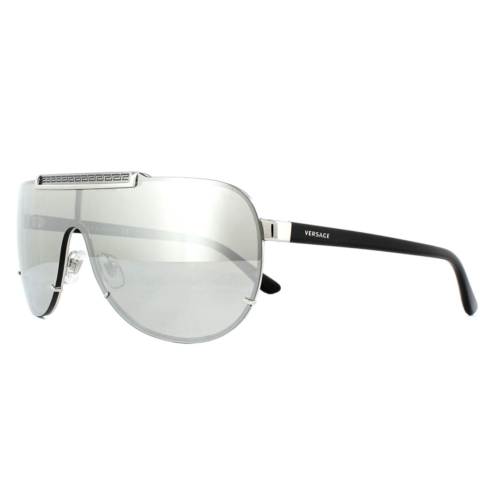 4cdaf7e5848 Details about Versace Sunglasses VE2140 10006G Silver Light Grey Silver  Mirror