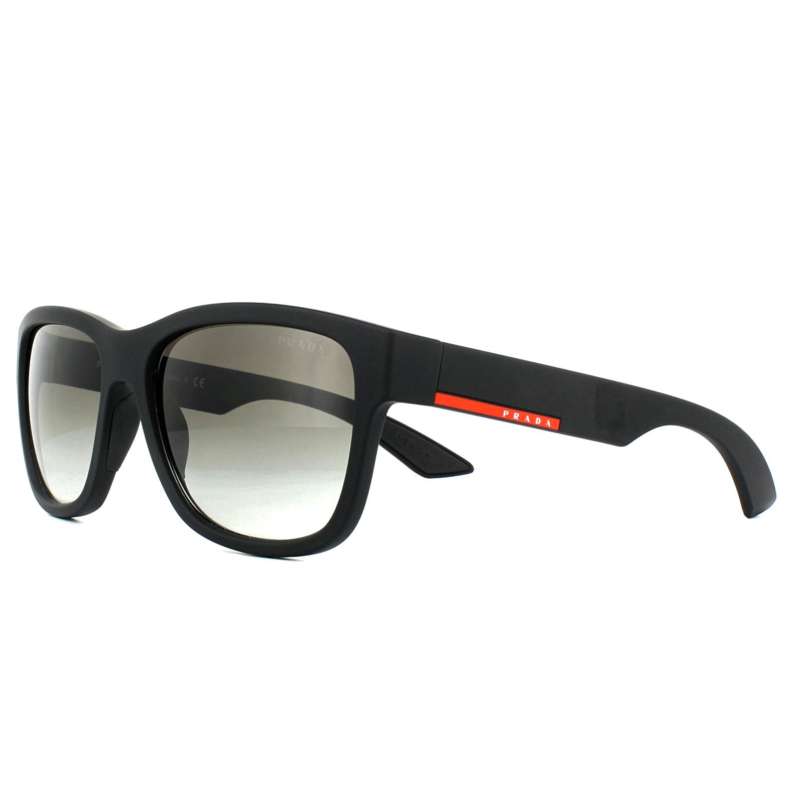 bc2616e54436e Sentinel Prada Sport Sunglasses PS03QS DG00A7 Black Rubber Grey Gradient