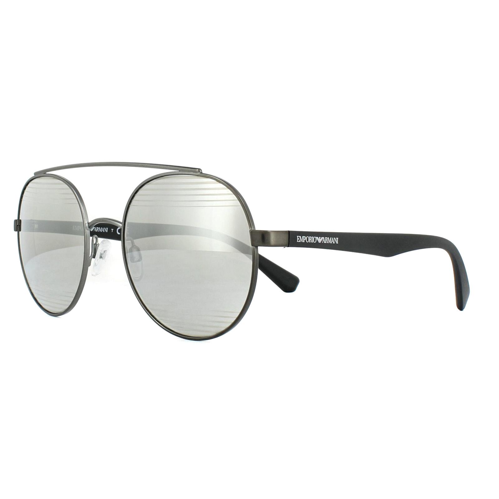 22d0241939b Sentinel Emporio Armani Sunglasses EA2051 30106G Matt Gunmetal Light Grey  Silver Mirror