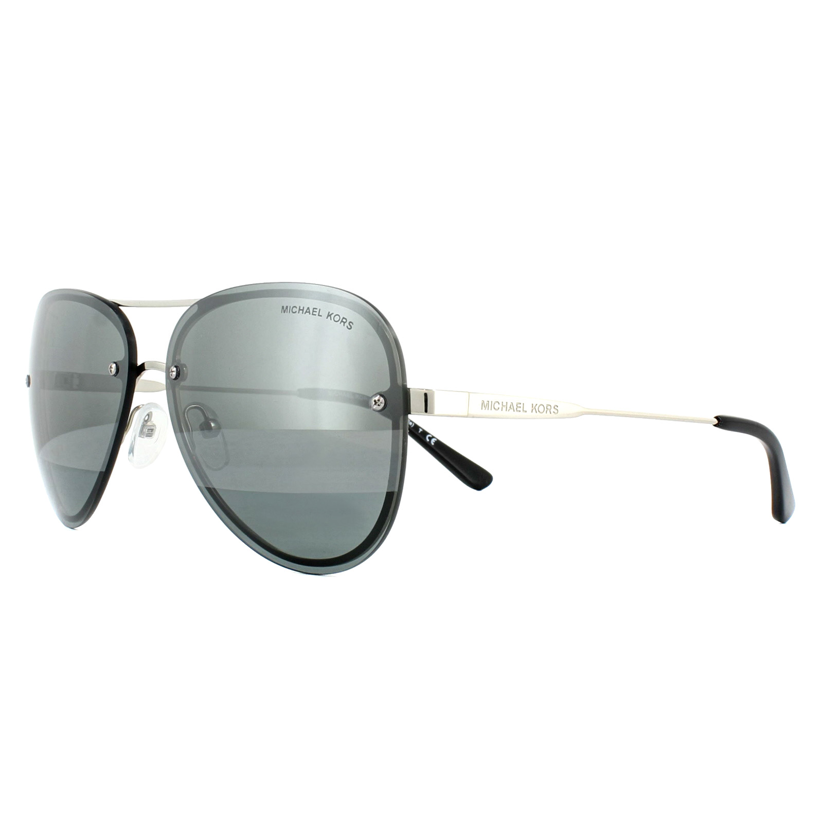 Details about Michael Kors Sunglasses La Jolla MK1026 11181Y Silver Tone Block Gunmetal Mirror