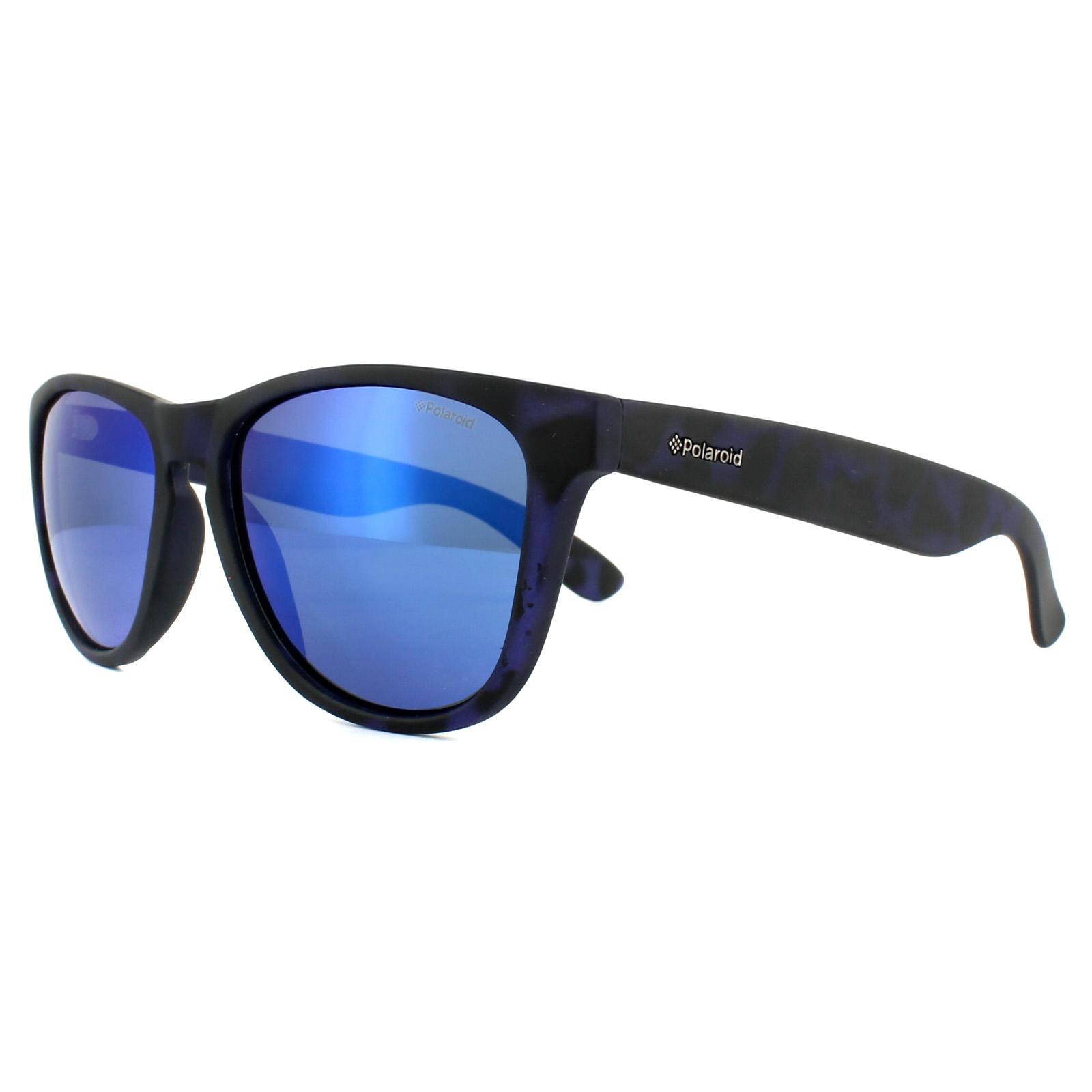 8ed5351d970 Sentinel Polaroid Sunglasses P8443 FLL JY Matt Blue Pattern Blue Mirror  Polarized