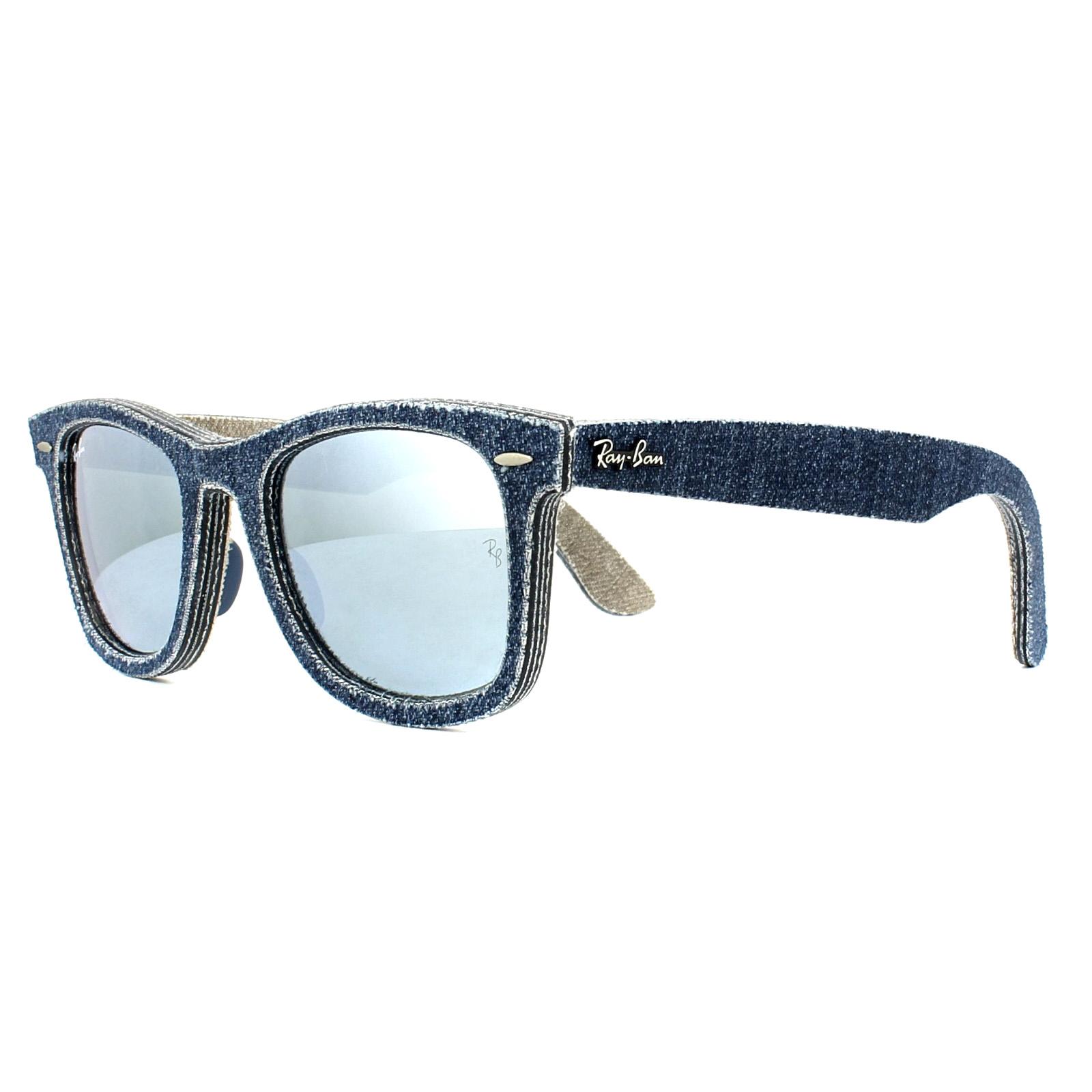 aeedf28f611f80 Sentinel Ray-Ban Sunglasses Wayfarer 2140 119430 Denim Dark Blue Silver  Mirror 50mm M