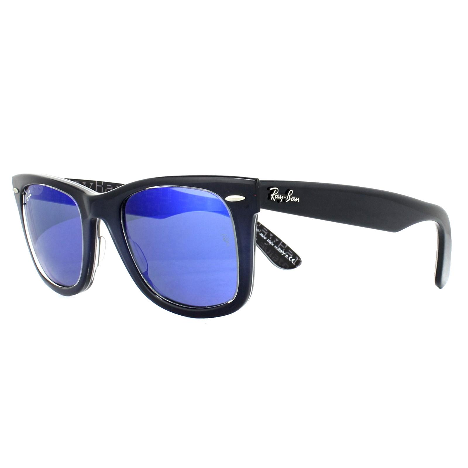 1930301f2e CENTINELA Gafas de sol Ray-Ban Wayfarer 2140 120368 píxel azul oscuro texto  azul espejo 50mm