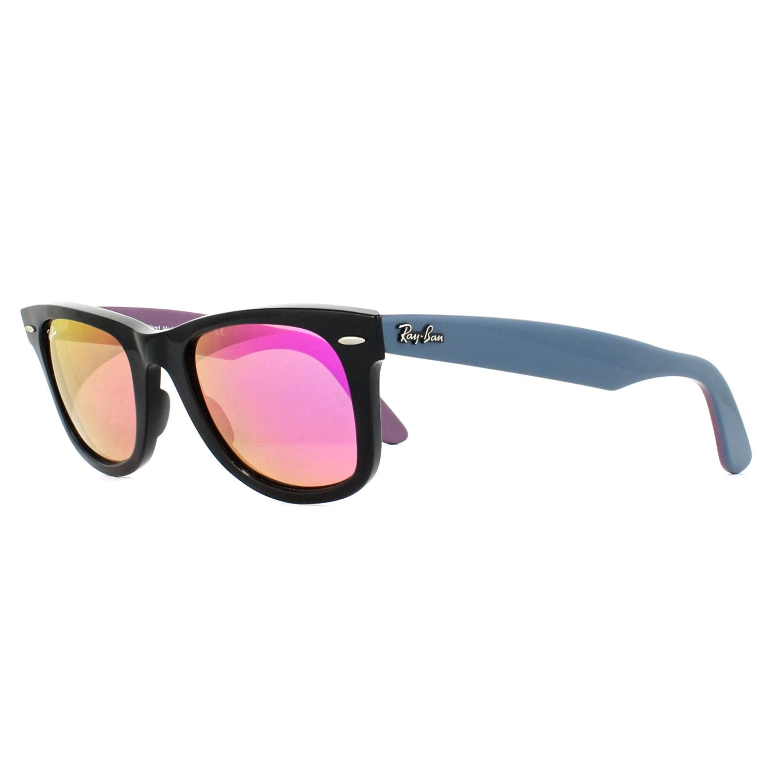 Details about Ray-Ban Sunglasses Wayfarer 2140 11744T Bicolor Black Blue    Violet Pink Mirror 470e2ada61dcd