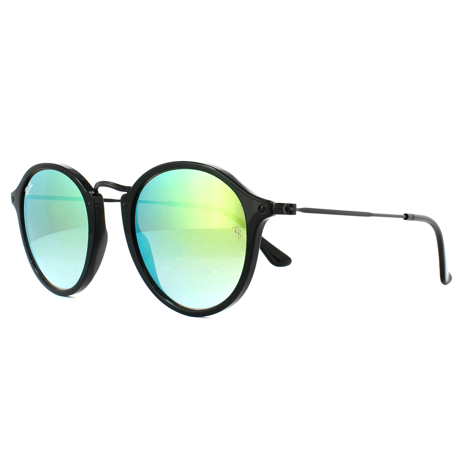 7140ee0ff8c4d Sentinel Ray-Ban Sunglasses Round Fleck 2447 901 4J Black Green Gradient  Mirror 49mm