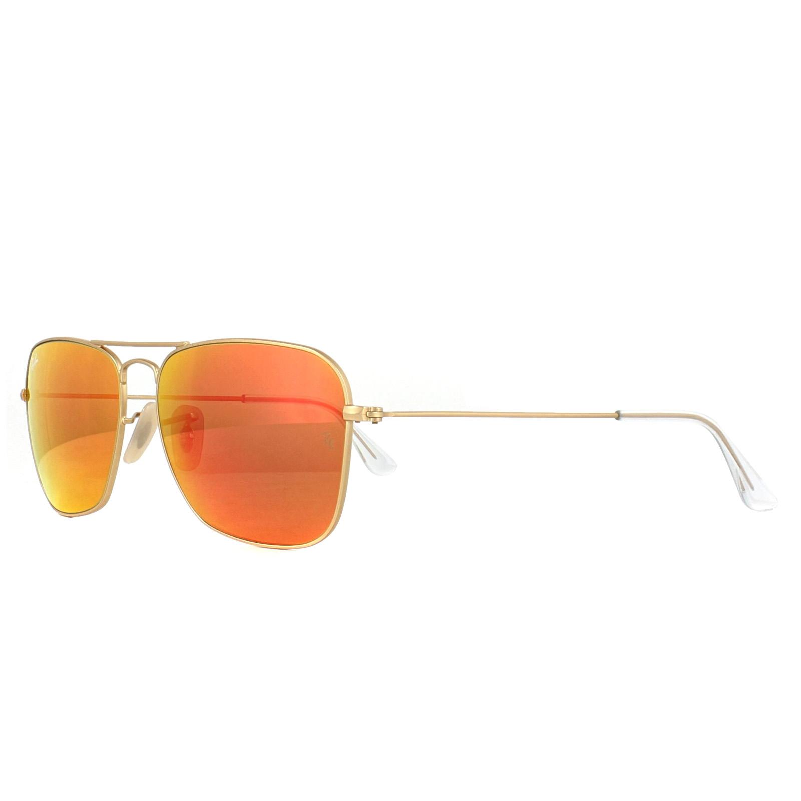 10530198af Sentinel Ray-Ban Sunglasses Caravan 3136 112 69 Gold Orange Mirror 58mm