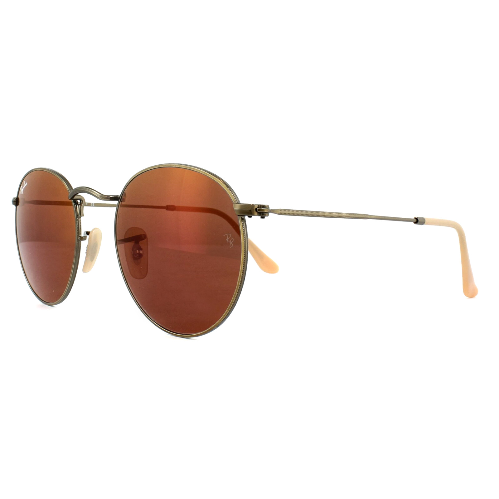 335d57e92fc71 ... italy sentinel ray ban sunglasses round metal 3447 167 2k brushed  bronze red mirror 50mm fd486