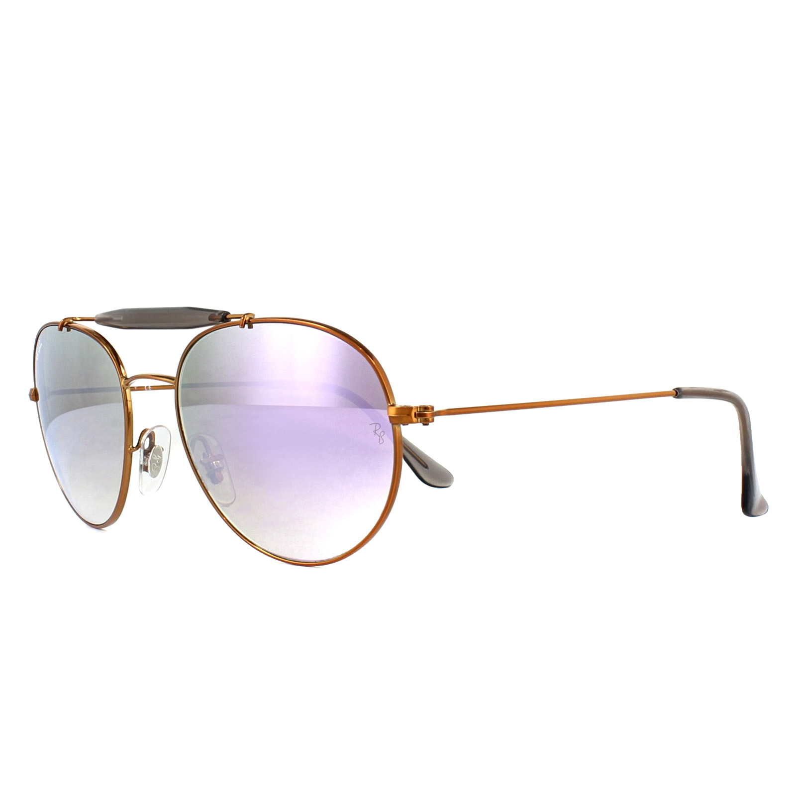 7fb70657619806 Sentinel Ray-Ban Sunglasses 3540 198 7X Bronze Copper Lilac Gradient Mirror  53mm