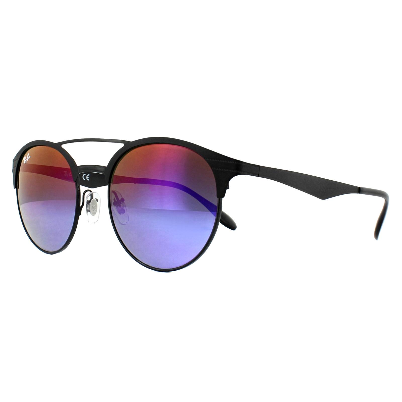 8b2639851a Sentinel Ray-Ban Sunglasses 3545 186 B1 Black Blue Violet Gradient Mirror  51mm