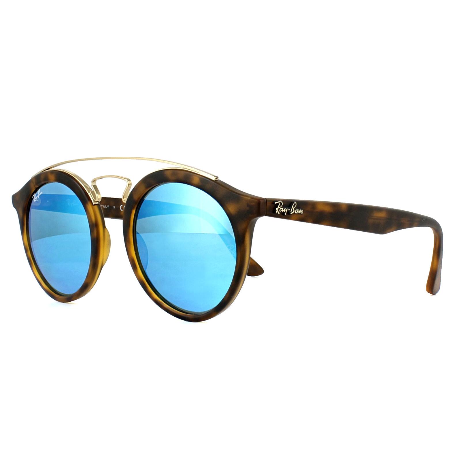 7520b1696b Sentinel Ray-Ban Sunglasses Gatsby 4256 609255 Matt Havana Blue Mirror 46mm