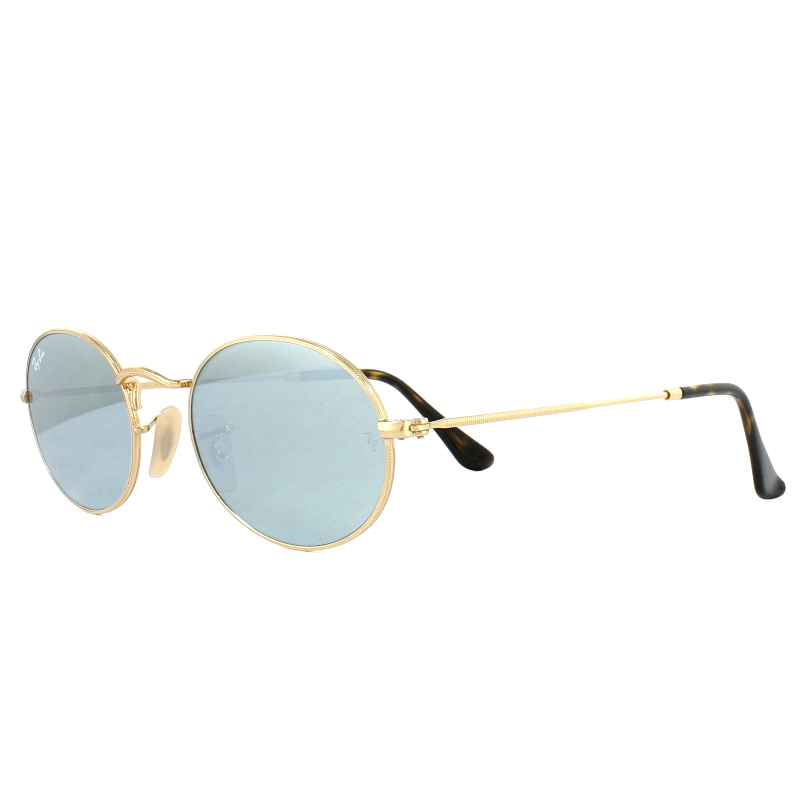 48539c0473a Details about Ray-Ban Sunglasses Oval 3547N 001 30 Gold Silver Mirror