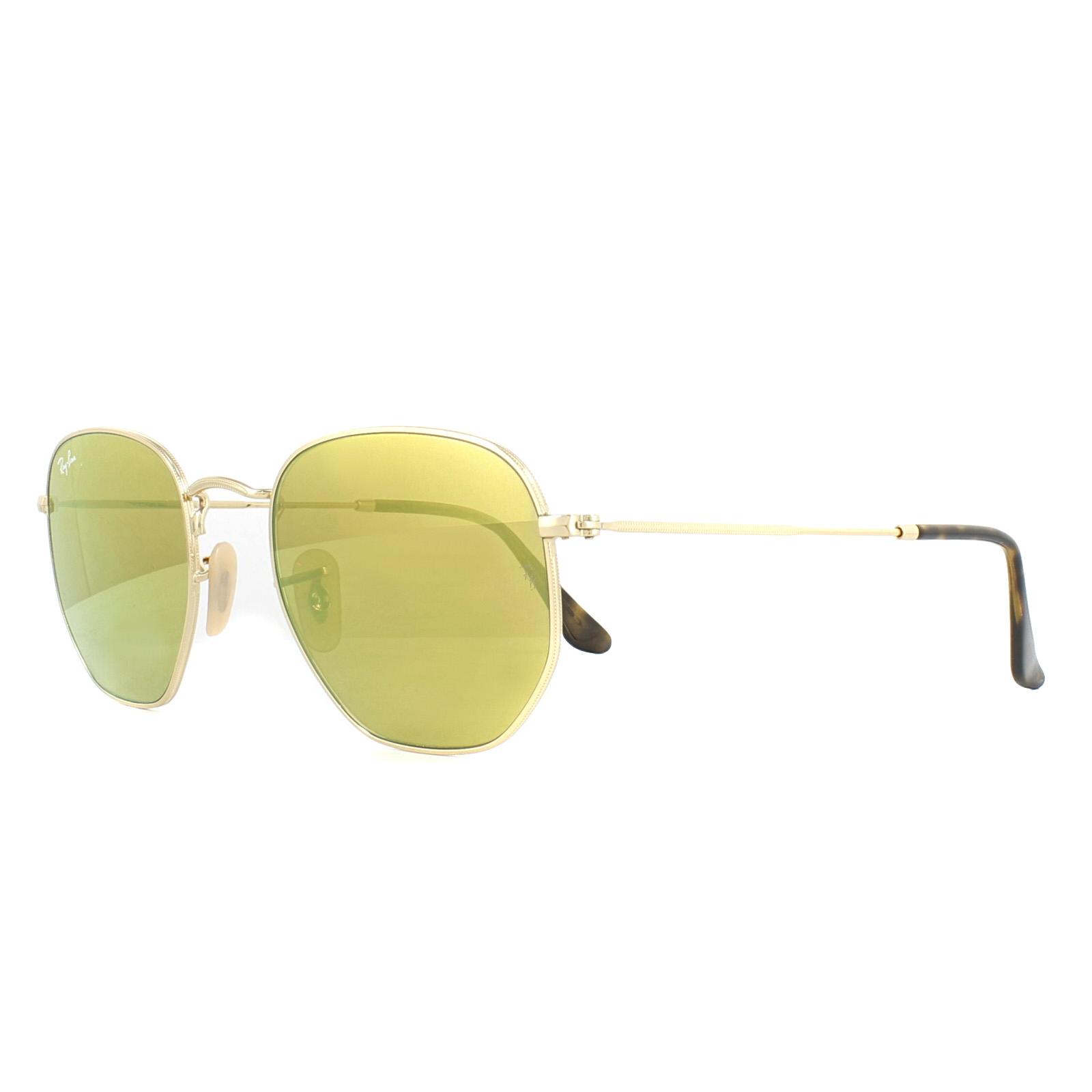 13055dbcf2f3a Sentinel Ray-Ban Sunglasses Hexagonal 3548N 001 93 Gold Yellow Mirror 54mm