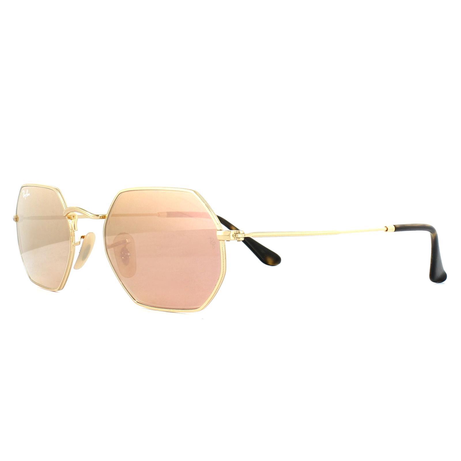 c71a24666d547 Sentinel Ray-Ban Sunglasses Octagonal 3556N 001 Z2 Gold Copper Mirror