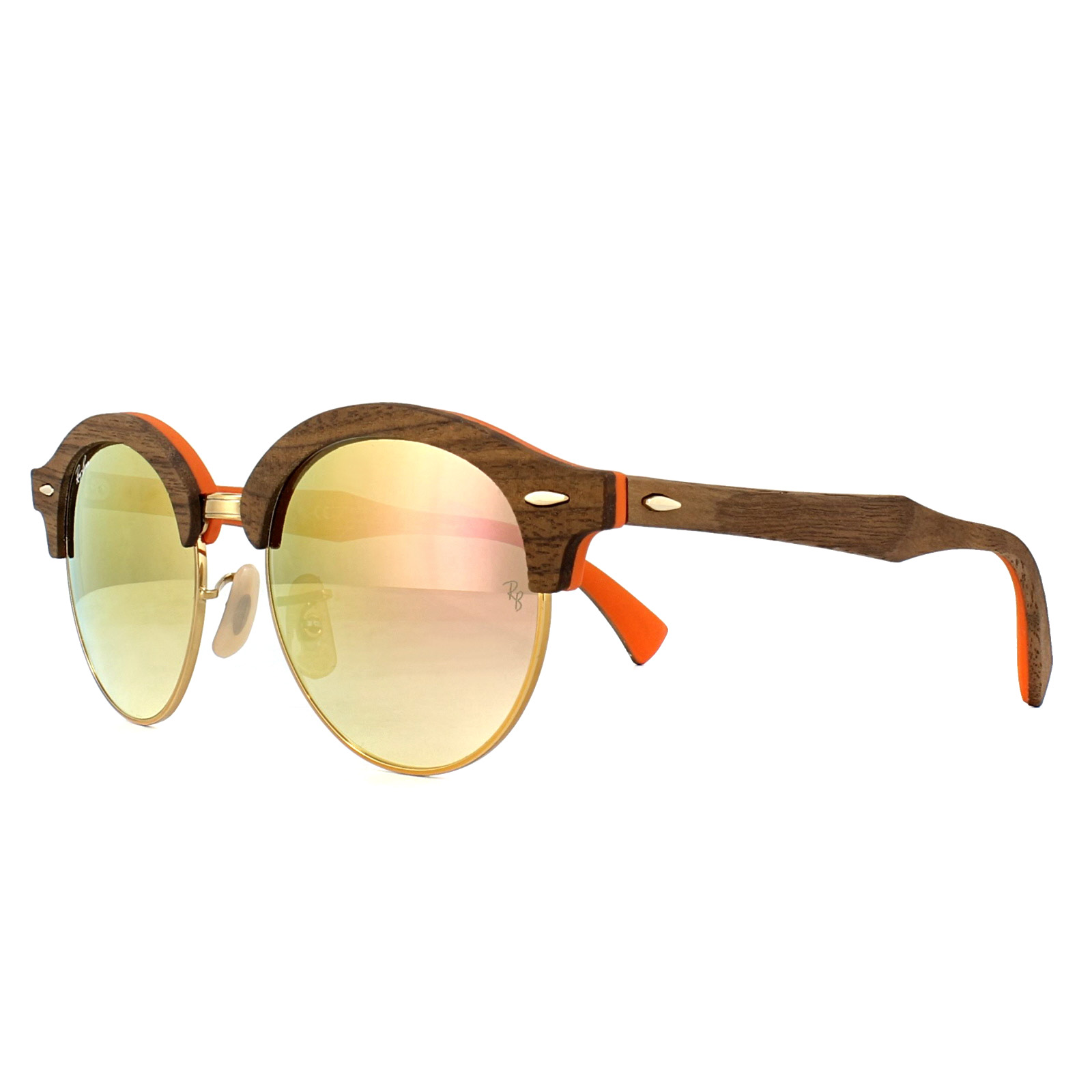 a325c30328d49 Sentinel Ray-Ban Sunglasses Clubround Wood 4246M 12187O Walnut Bronze  Copper Mirror