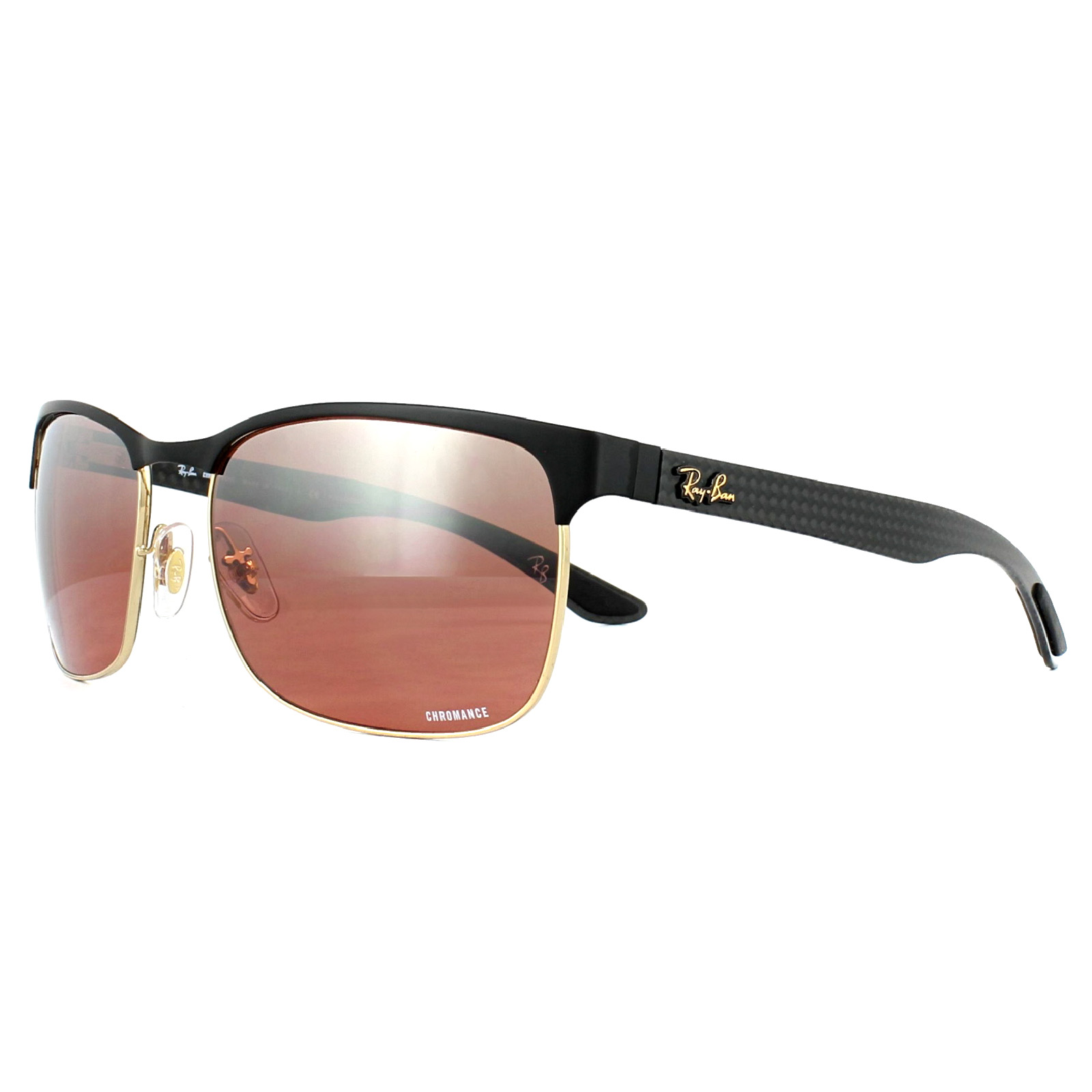 Details About Ray Ban Sunglasses Rb8319ch 9076k9 Black Gold Pink Mirror Polarized Chromance