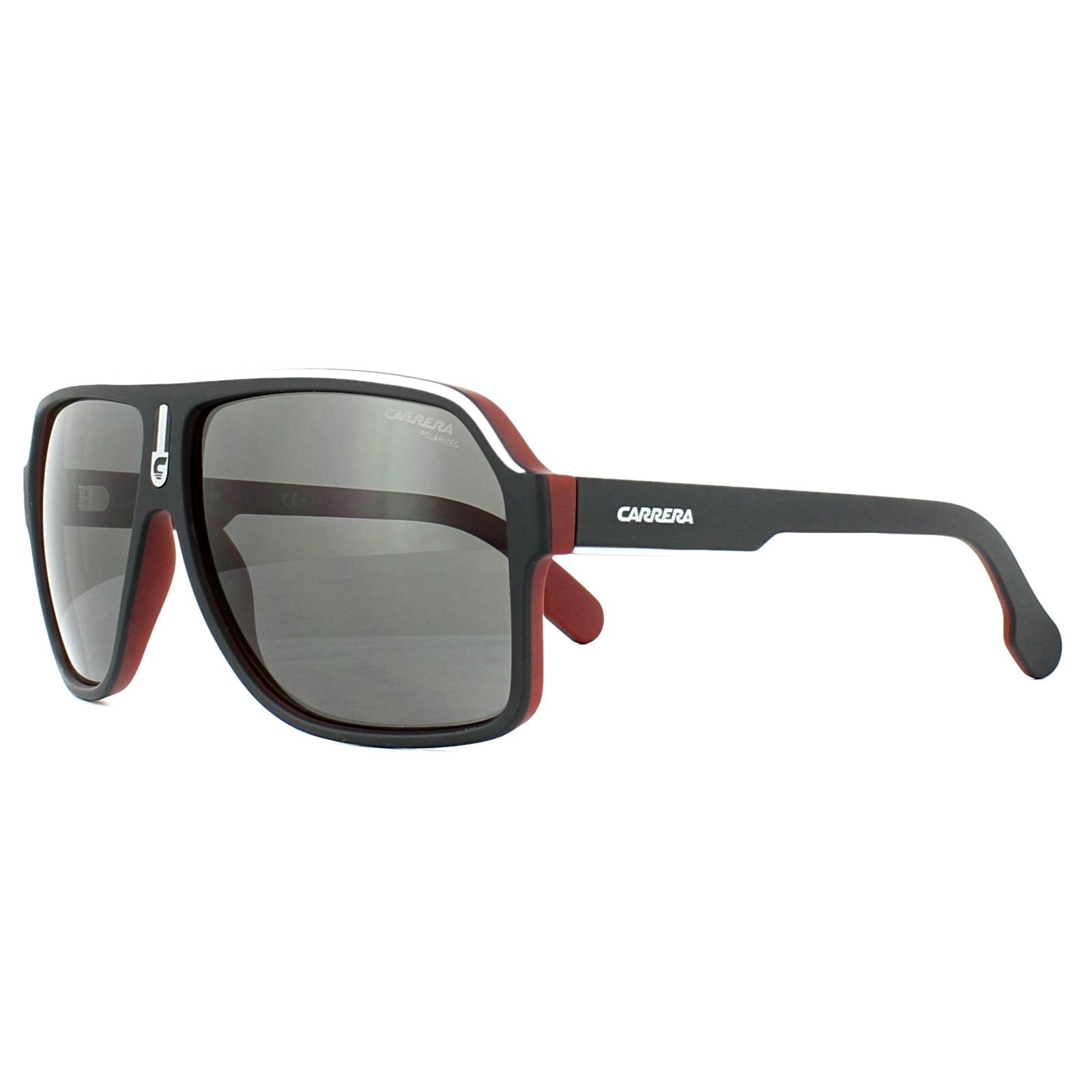 7b36a1d0e86 Sentinel Carrera Sunglasses 1001 S BLX M9 Black Silver Red Grey Polarized