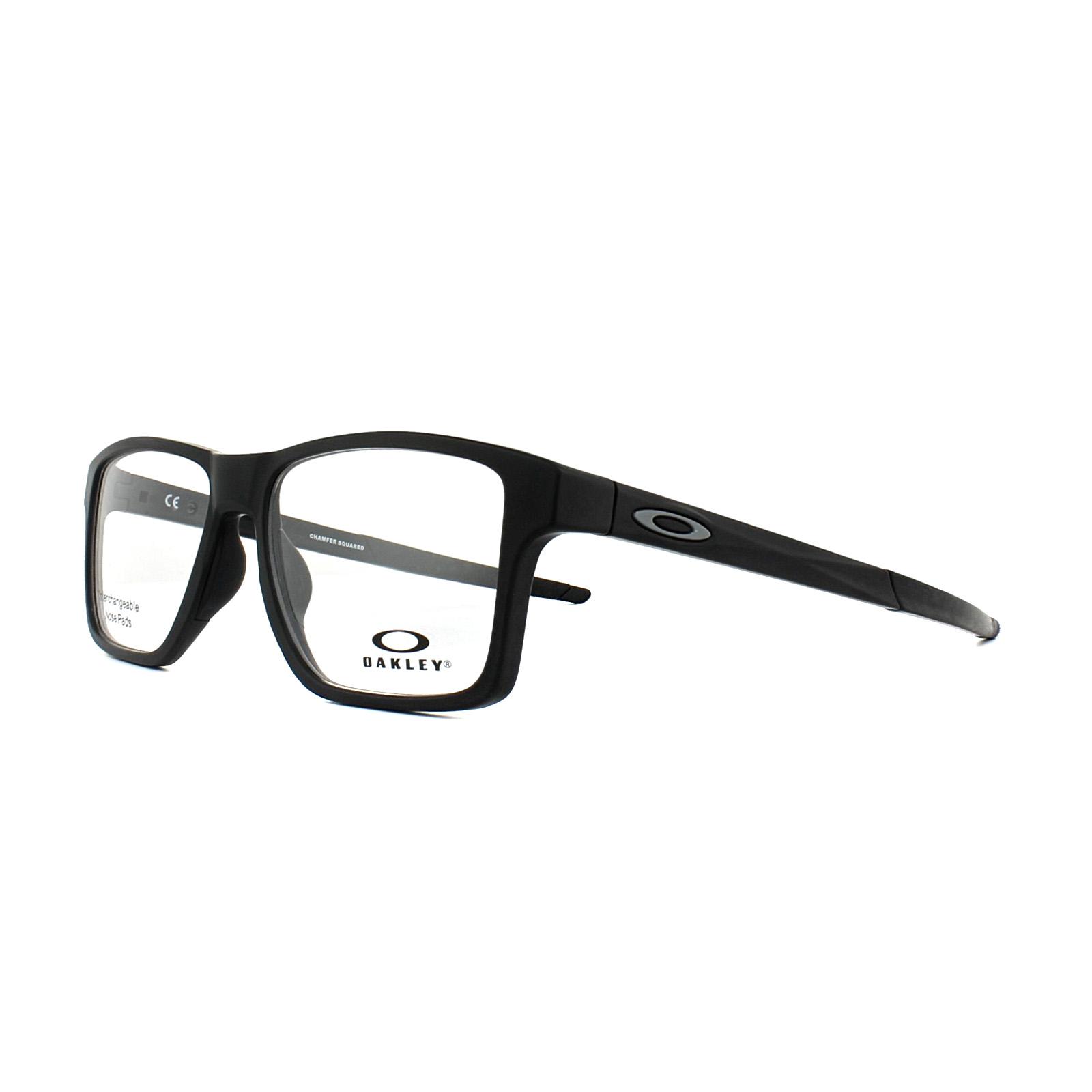 928b0752fe46 Sentinel Oakley Glasses Frames Chamfer Squared OX8143-01 Satin Black 54mm  Mens