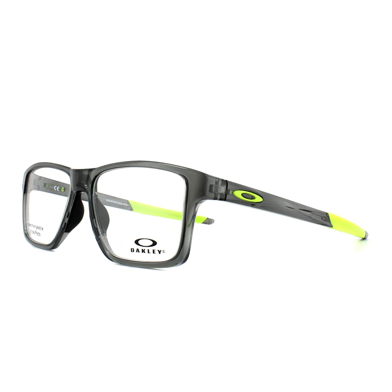 a82b87b6ae Sentinel Oakley Glasses Frames Chamfer Squared OX8143-06 Polished Grey  Smoke 54mm Mens