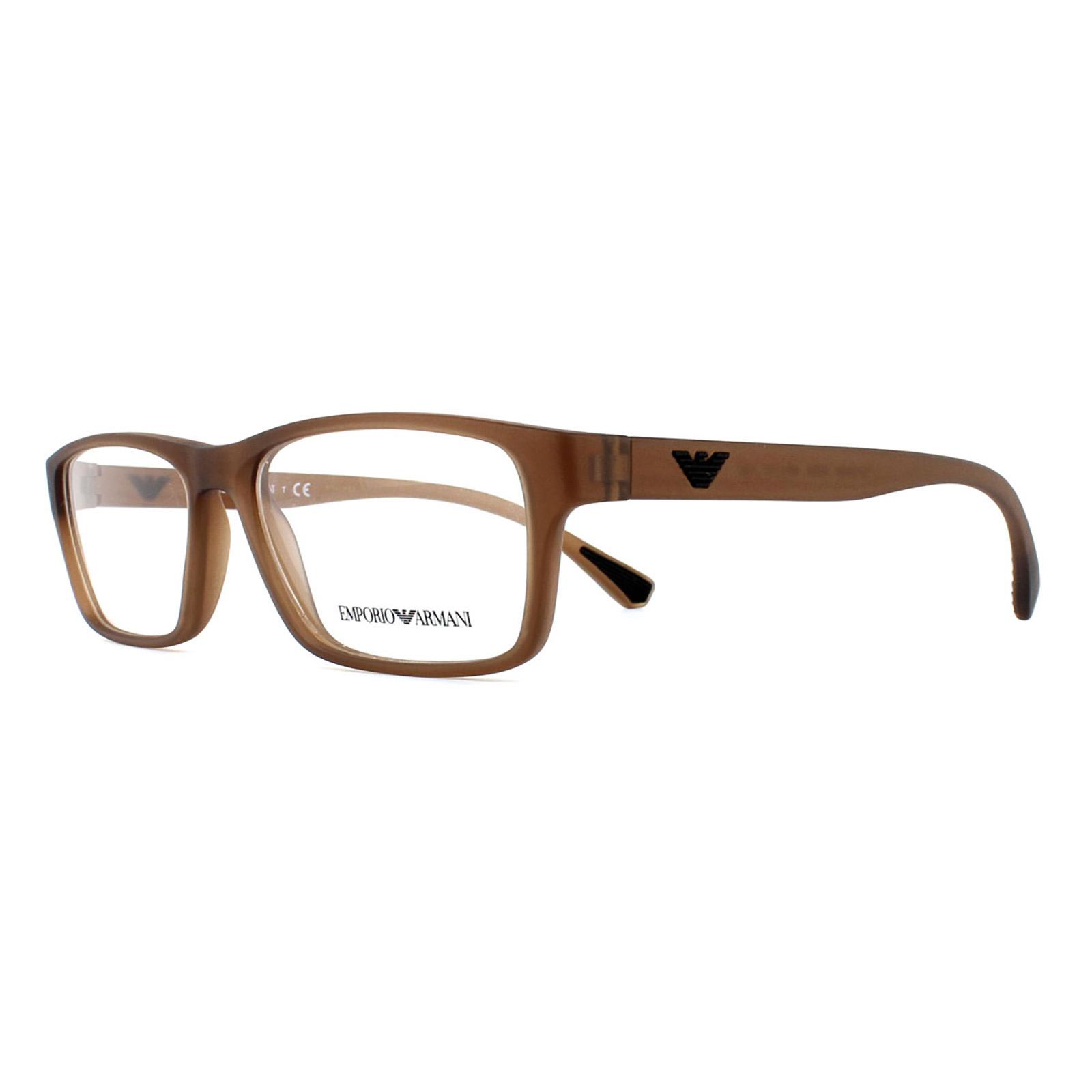 efd3cbc80595 Sentinel Emporio Armani Glasses Frames 3088 5533 Matte Transparent Brown  Men 55mm